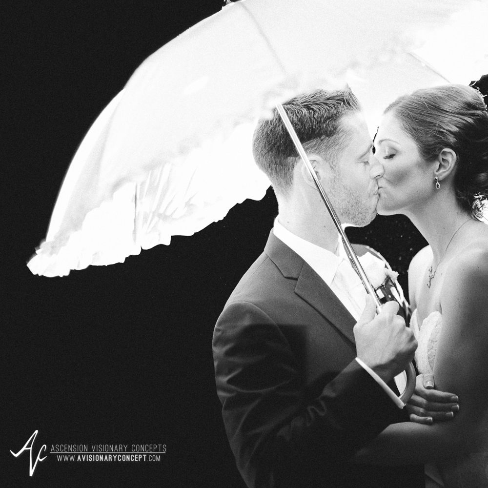 Buffalo Wedding Photography Spring Lake Winery 081 - Wedding Bride Groom Rainy Day Wedding Umbrella Kiss Backlit B&W Black and White.jpg