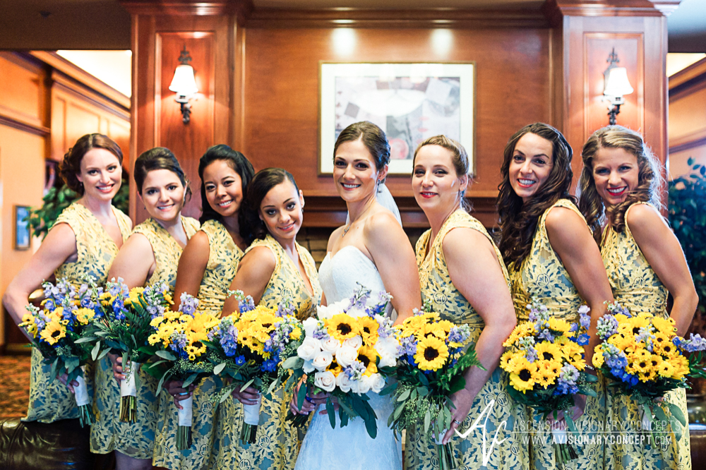 Buffalo Wedding Photography Spring Lake Winery 023 - Bridal Party Hotel Lobby Sunflower Bouquets.jpg