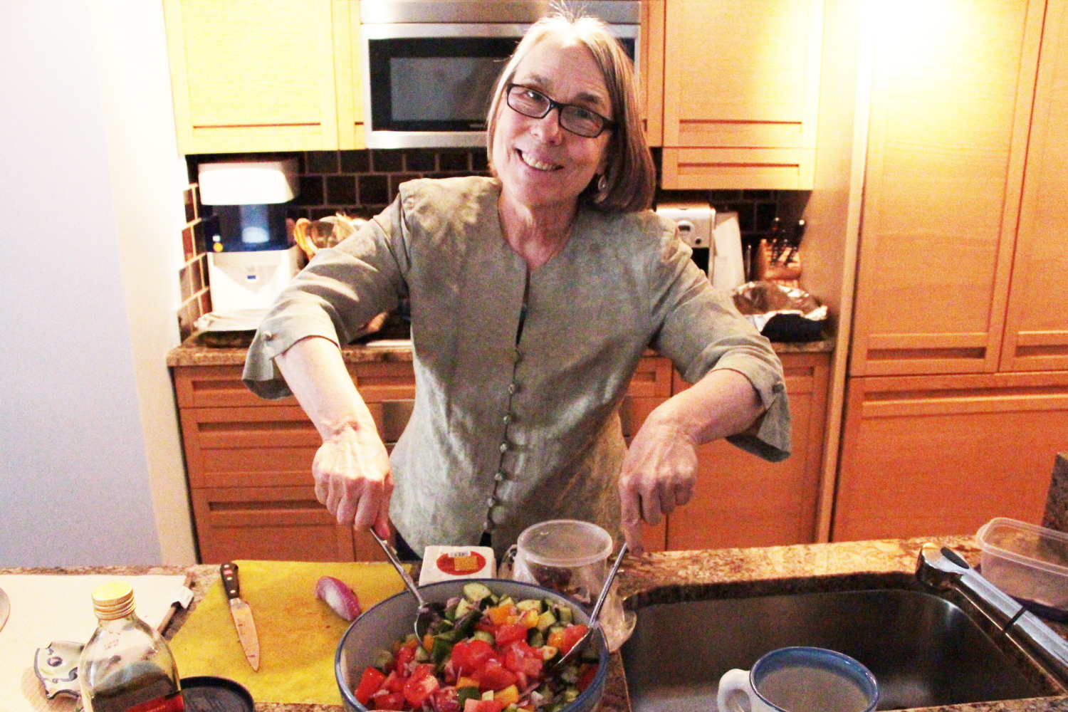 Aunt Cathy helped toss the Greek salad using a recipe that we recently made at a Greek cooking class girls night.