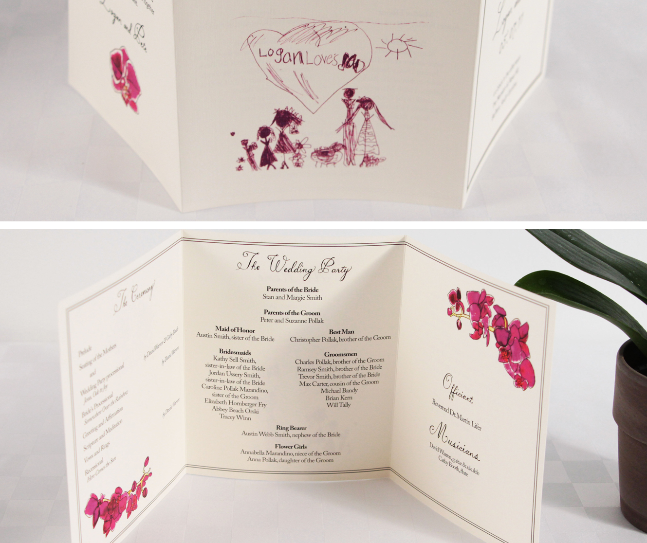 Logan and Pete's trifold orchid wedding program, inside and out.