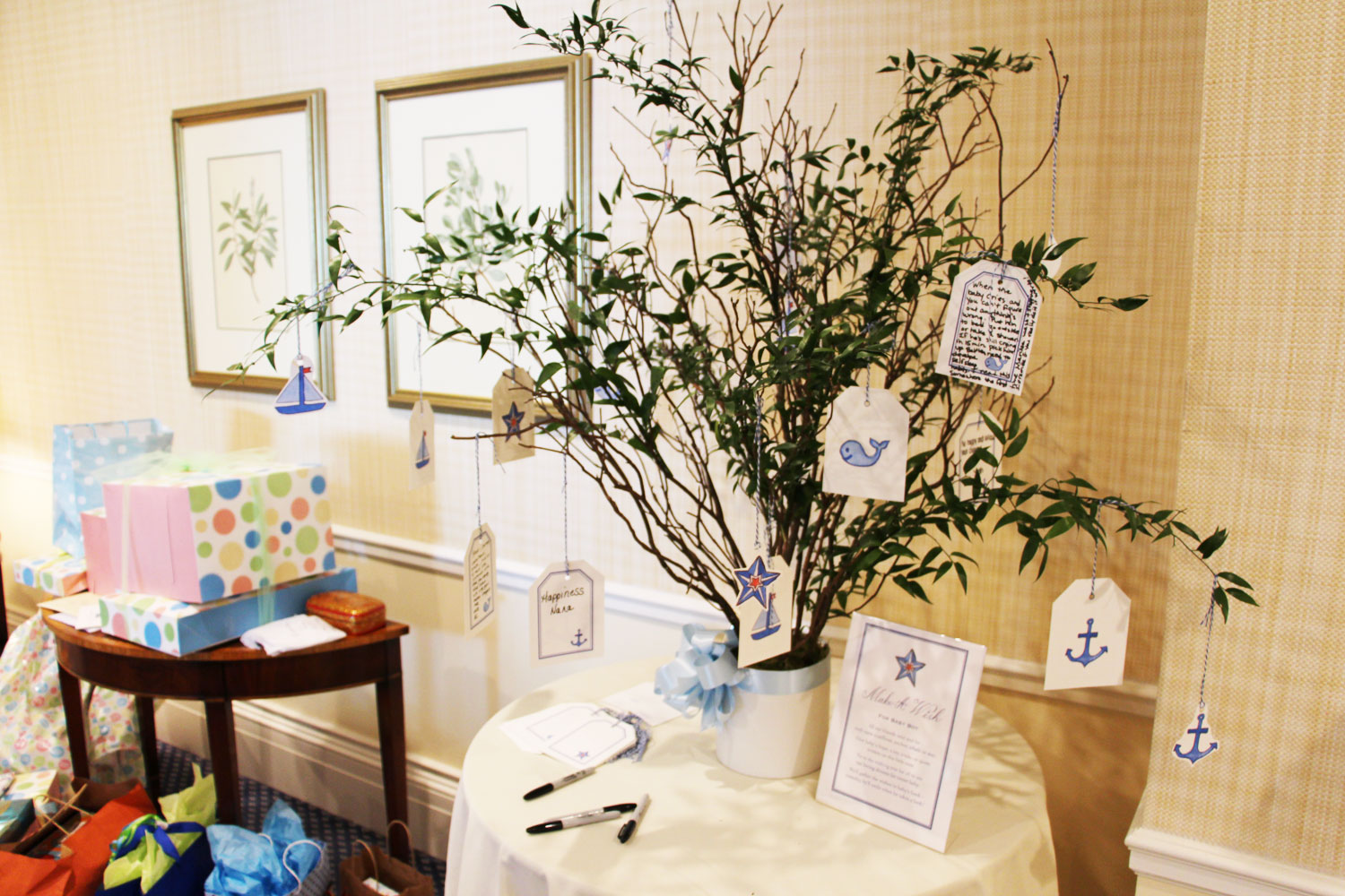 "Make a wish! Nautical notes to tie on to the ""wishing tree"" for baby."