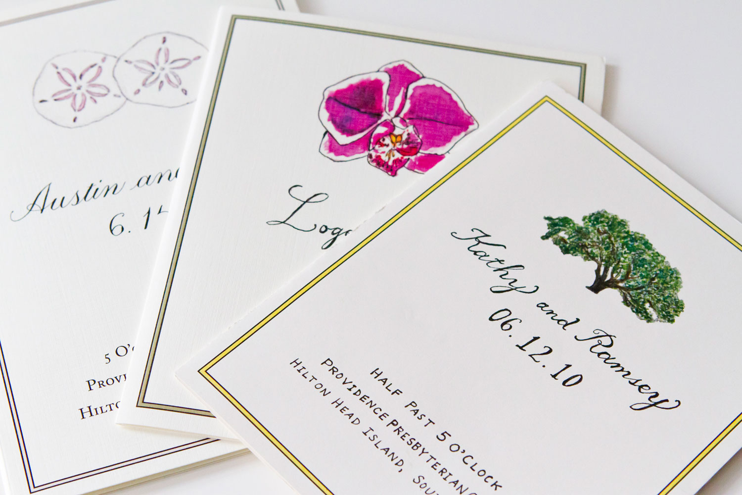 Four years....three siblings...three South Carolina weddings...three LAURA ANN custom wedding programs.