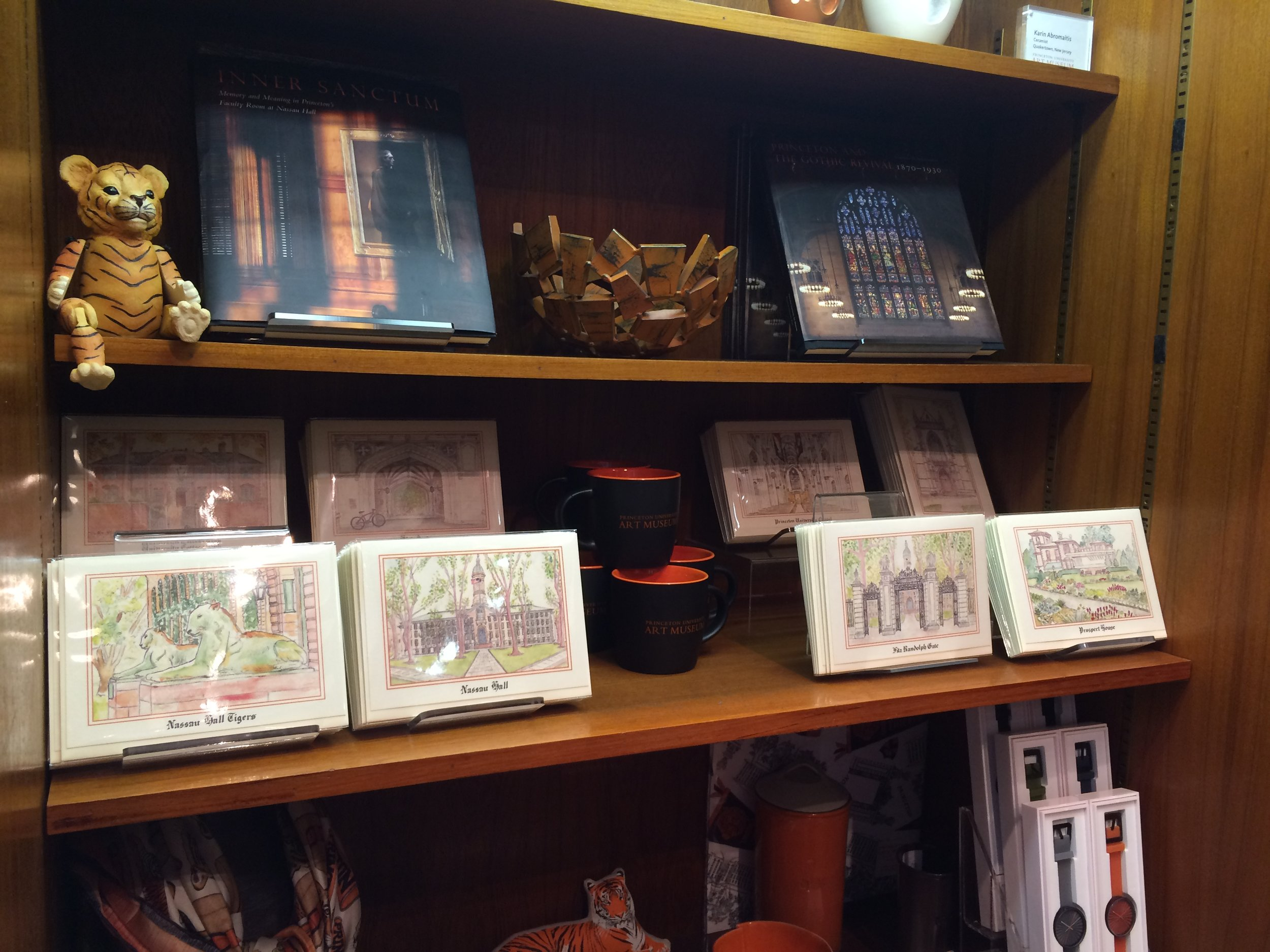 Greeting cards on display at the Princeton Art Museum Store as a licensed artist of the University, 2016-19.