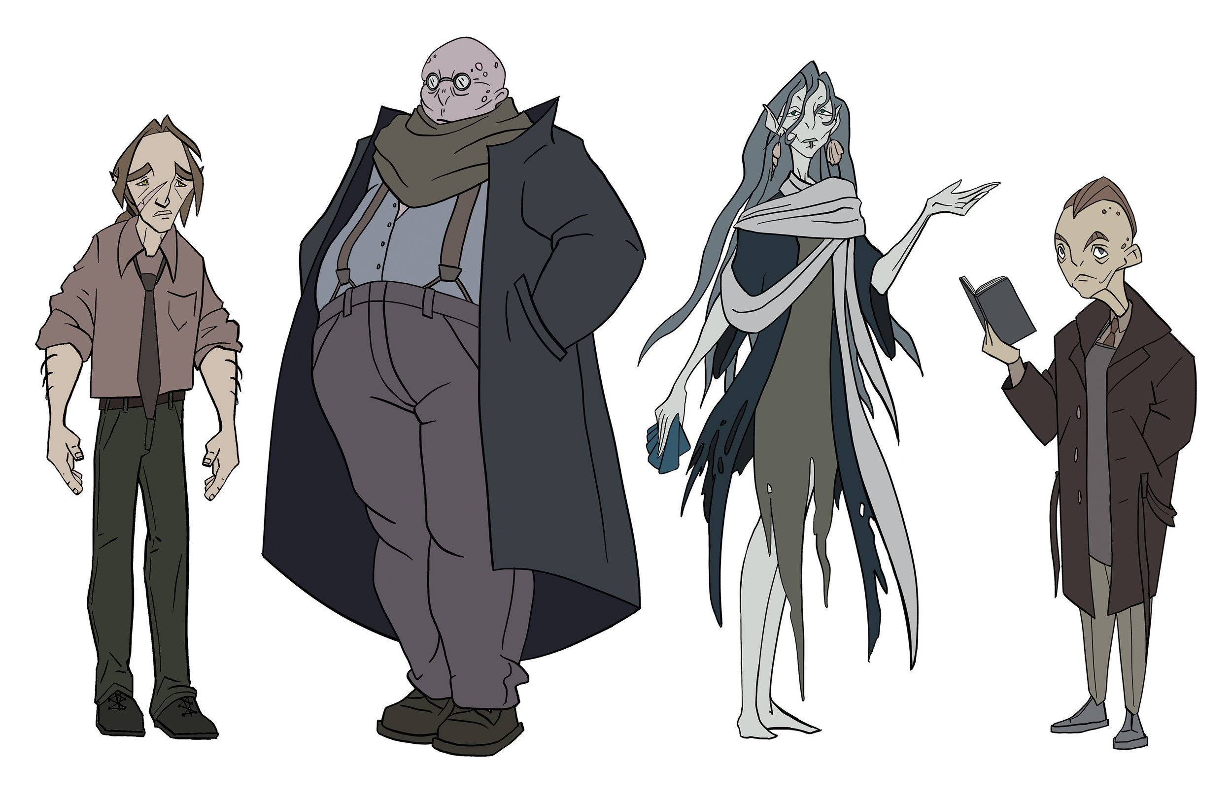 Above: character lineup — The main character, a werewolf, and three supporting characters, worshippers of an elder sea god