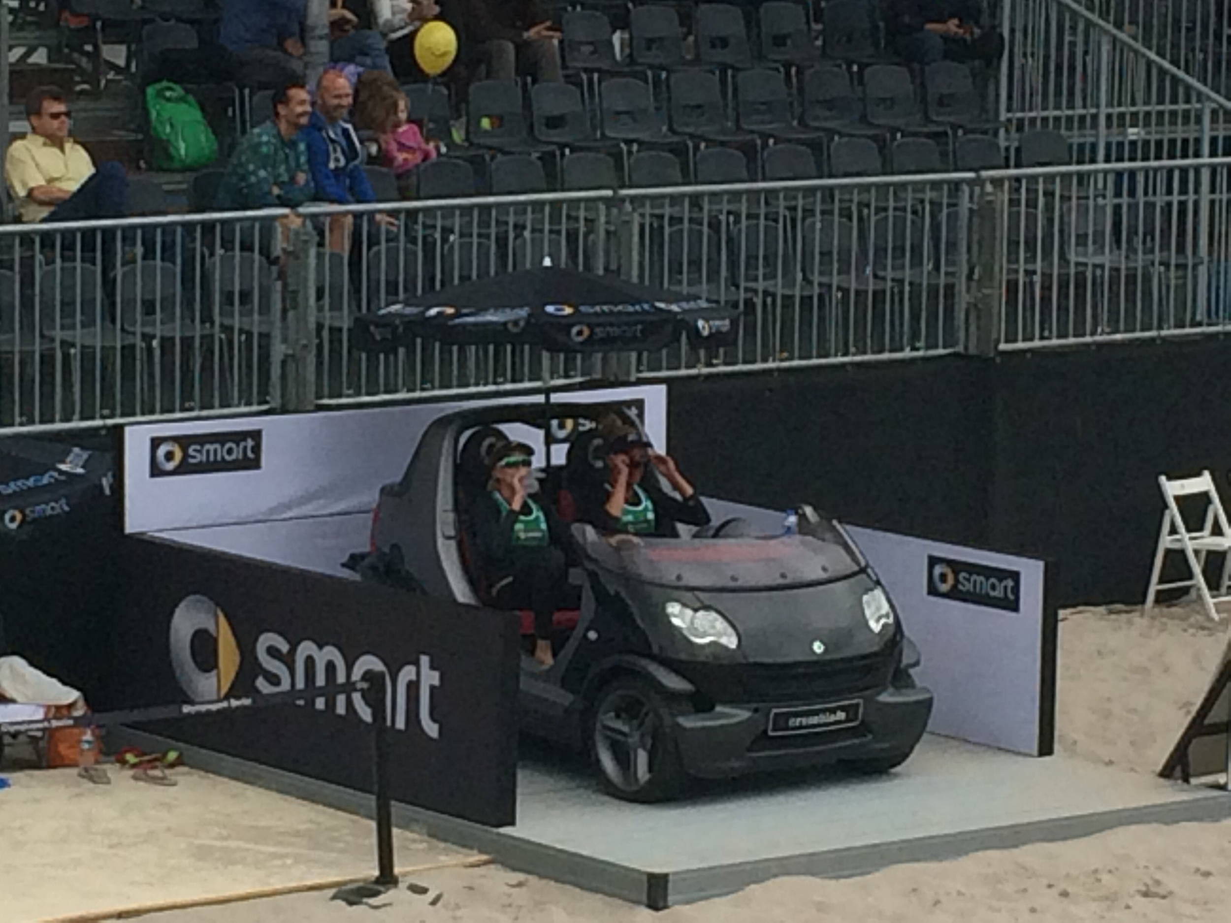 """Kerri and April """"Time out"""" driving the smart car!"""