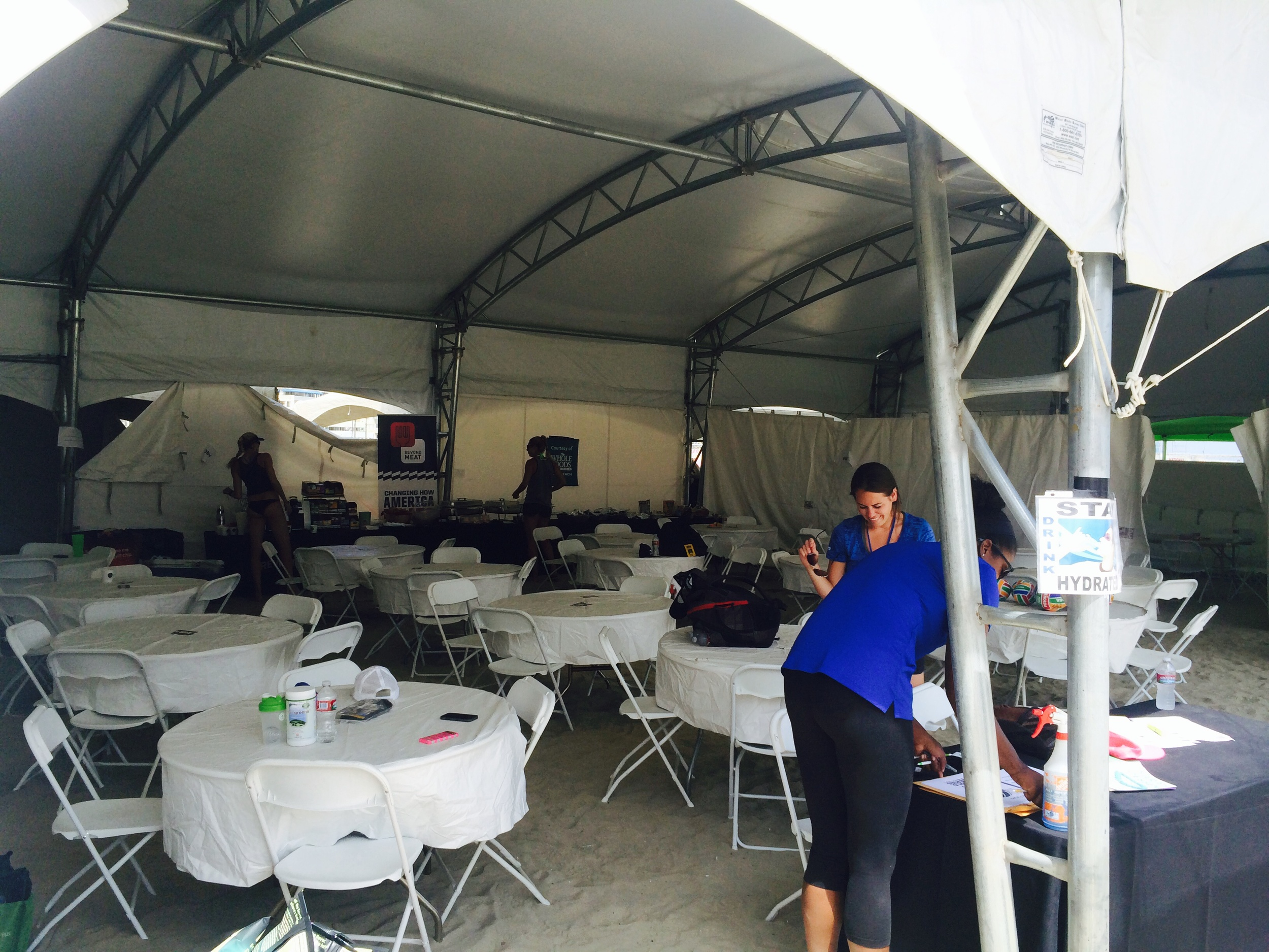 Players food area. You can see Kerri and April getting some snacks