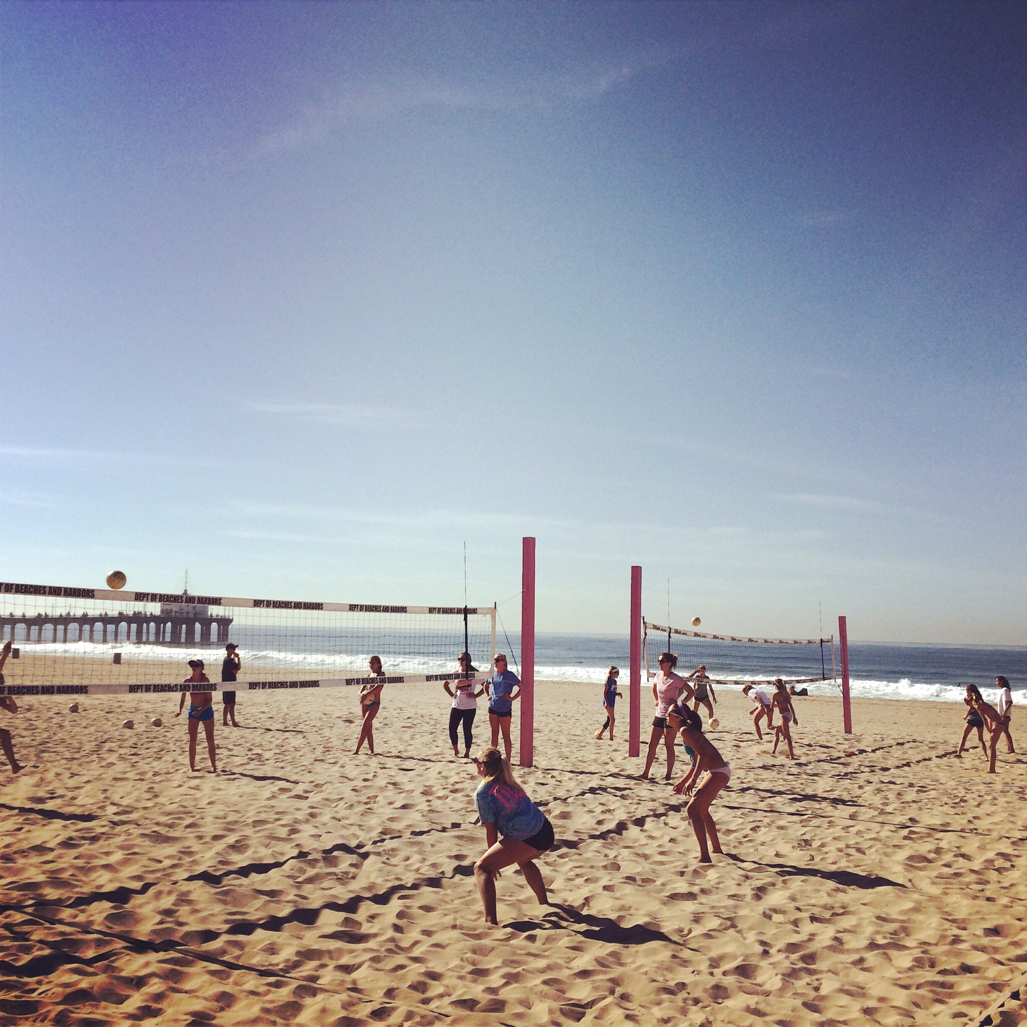 Two courts going at a time. 1 court has two mini games while the other court is full court beach vb!