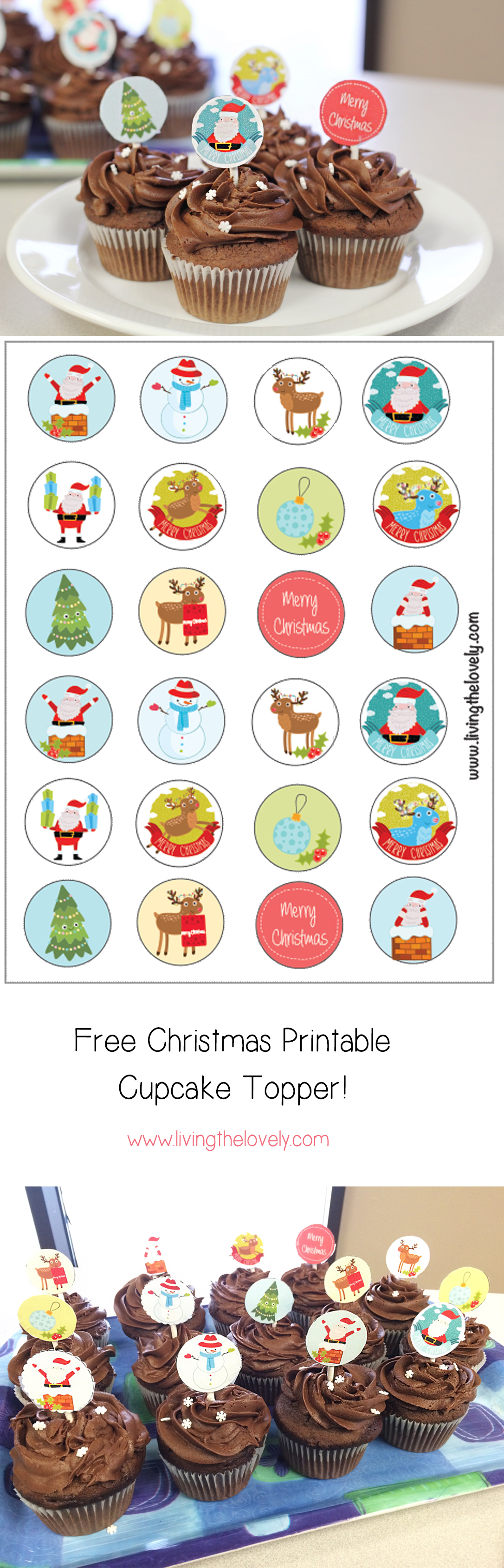 A FREE Christmas Printable! Its a series of super cute christmas themed cupcake toppers you can print at home! Great for a fancy looking treat to take to a Christmas Party!