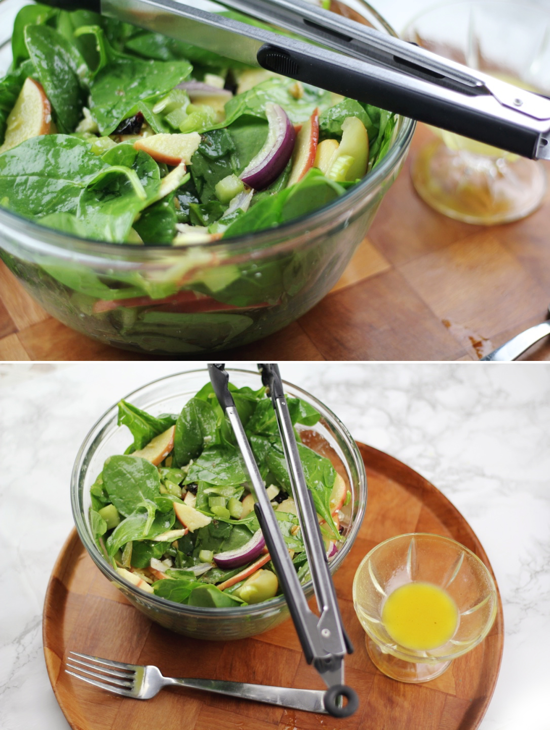 LOW CARB high fibre and protein spinach apple celery feta cheese salad. Nutrition info included. Super quick and easy for dinner or lunch.