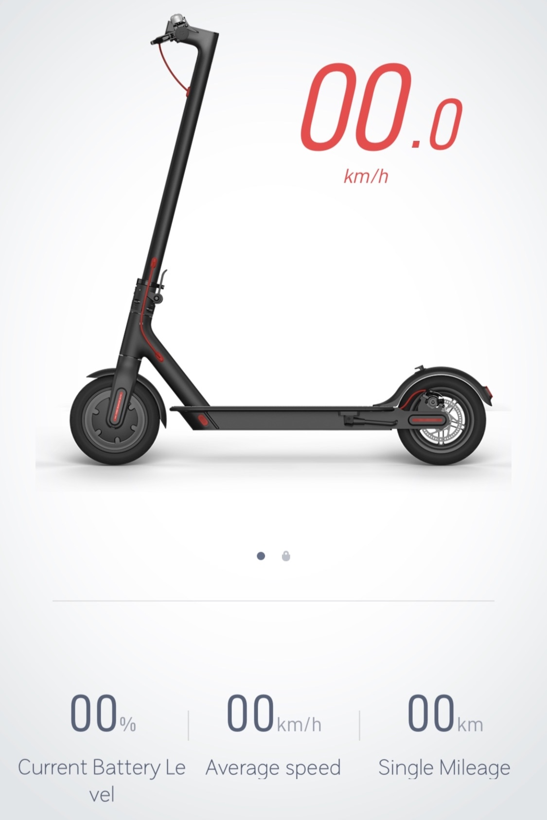 Interface for the scooter in the Xiaomi Mi Home app