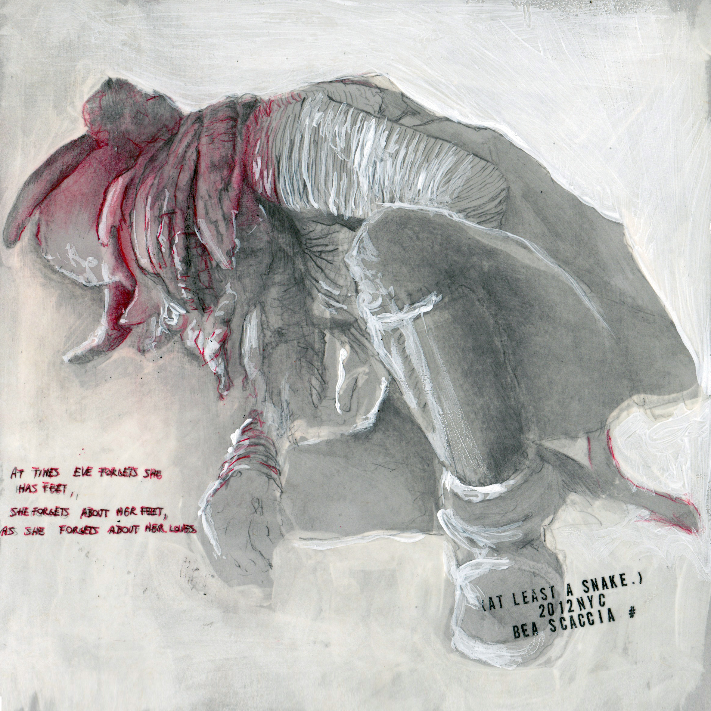 At least a snake n. 6/12 2012  pencil, pastels, chalk and wax on paper  8x8 inches