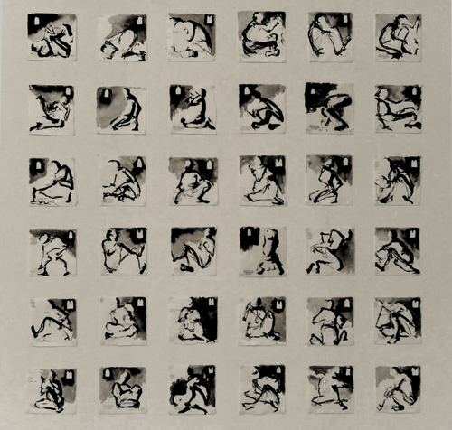 36 sketches, ink on japanese paper. 15x15 cm