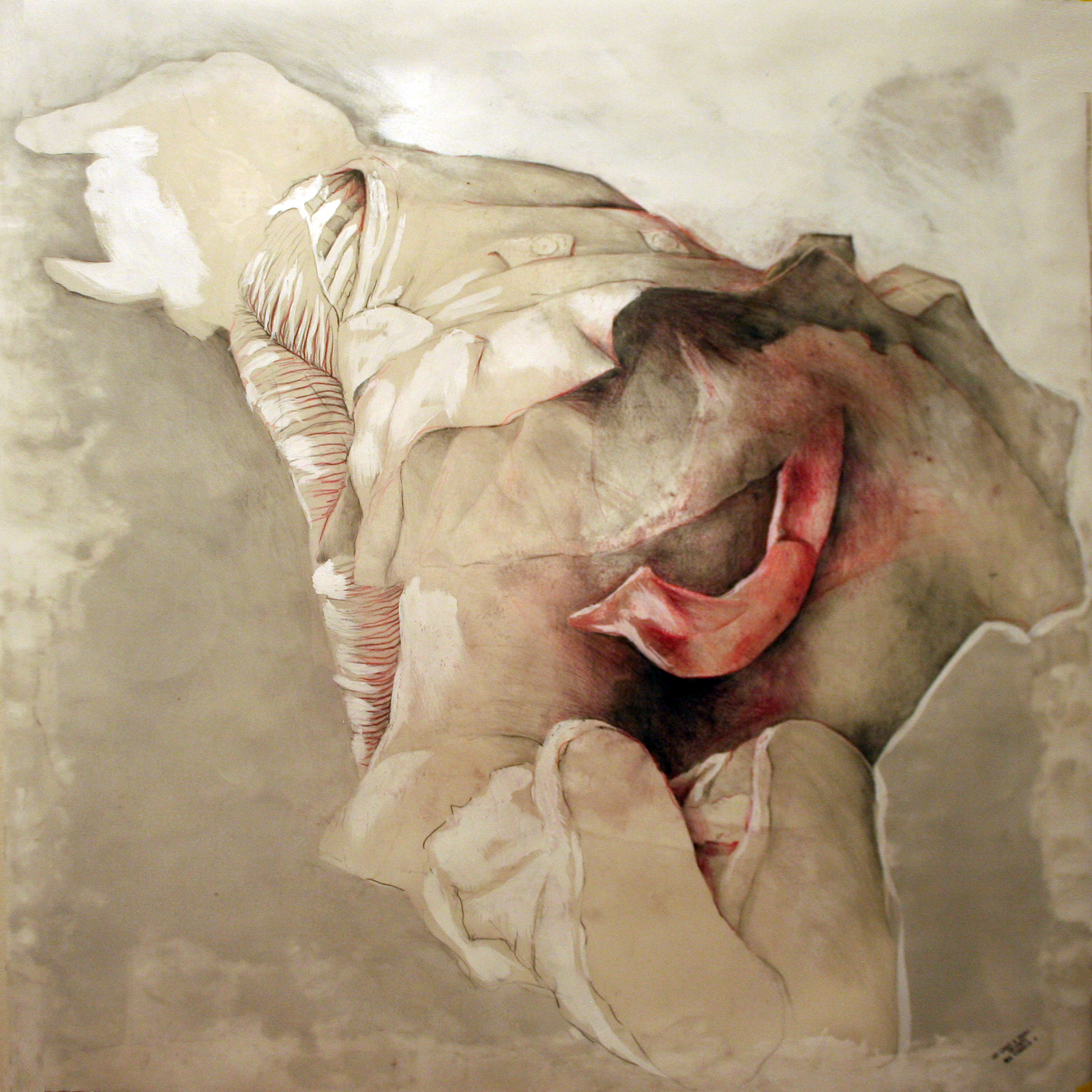 At least a snake n. 1/4 2012  pencil, pastels, chalk and wax on paper  40x40 inches