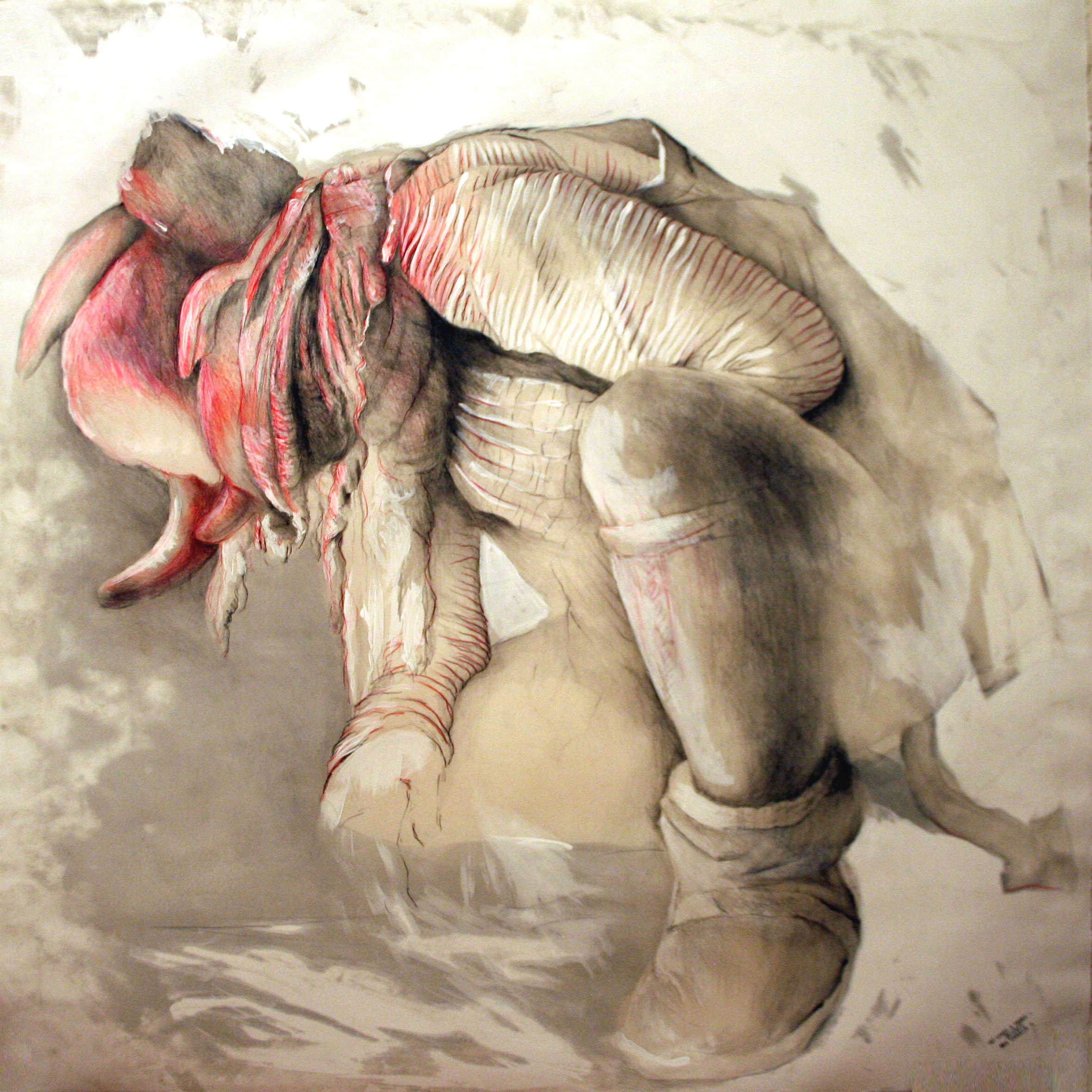 At least a snake n. 2/4 2012  pencil, pastels, chalk and wax on paper  40x40 inches