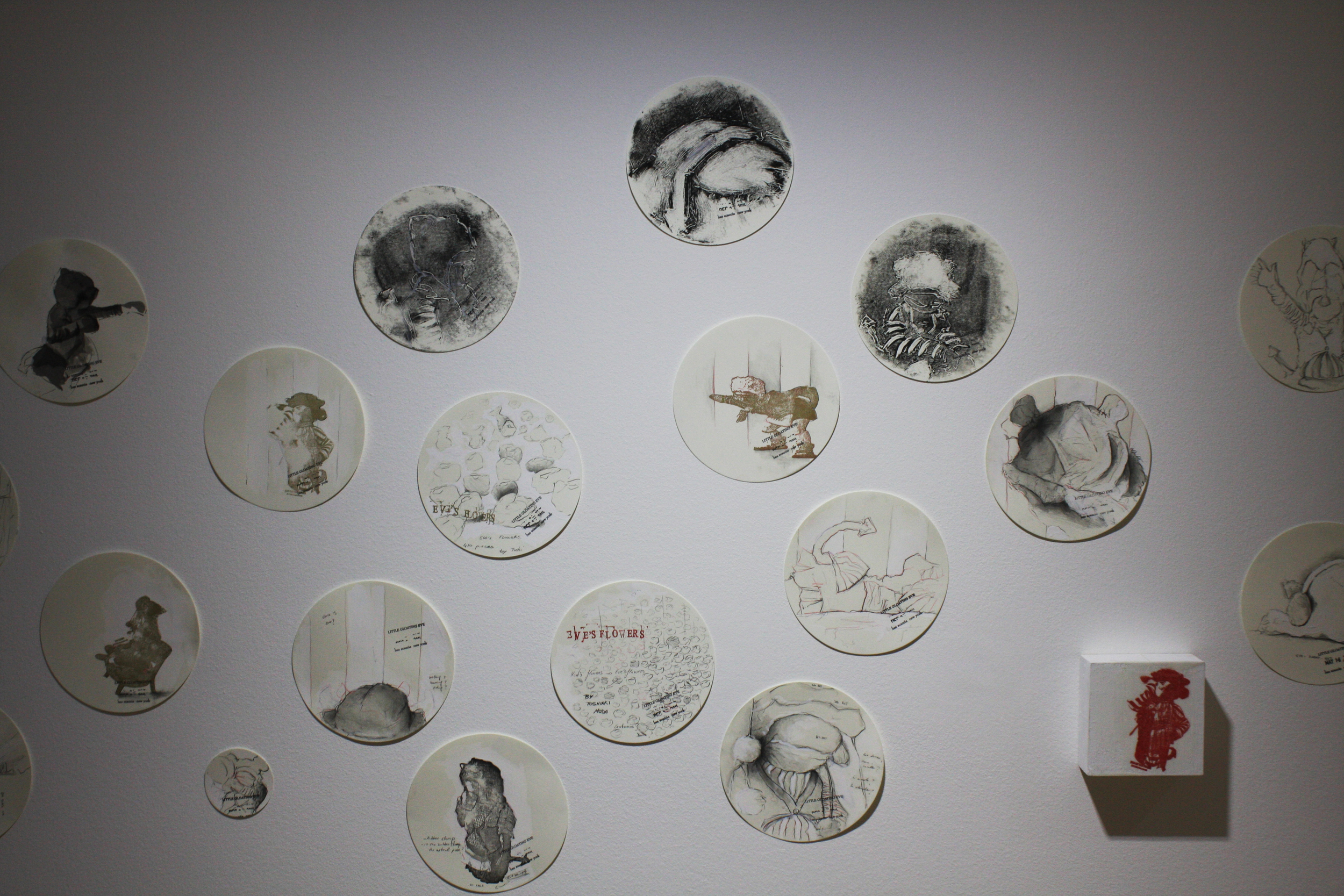 Little Gloating Eve, installation view, sketches  Effearte.Sept. 2014