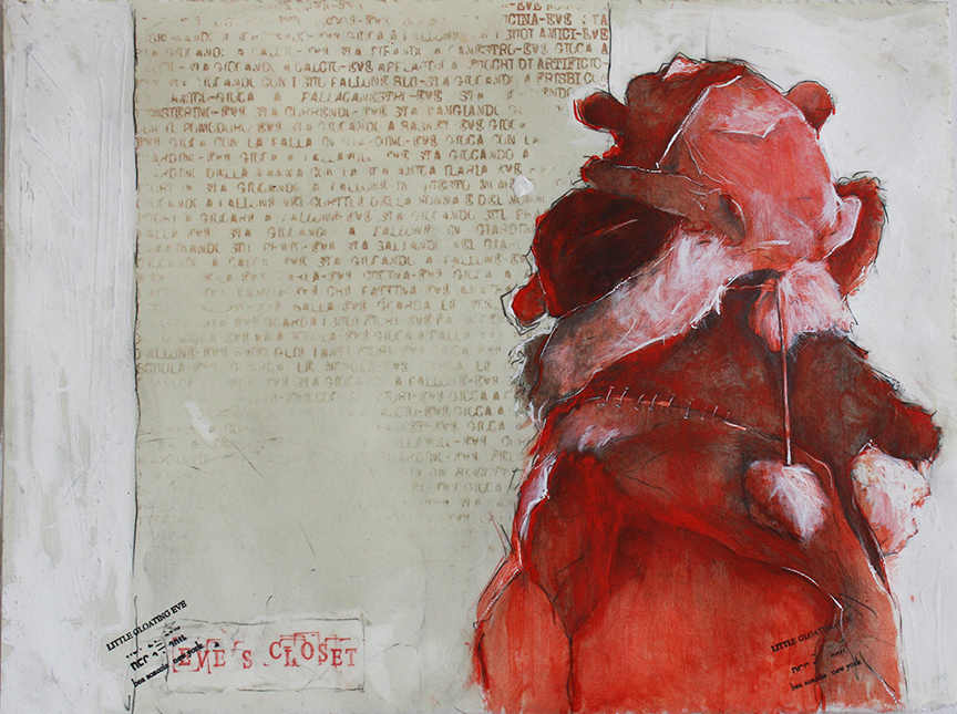 Eve hats 2014, pencils, gesso and wax on paper cm 28x38  (Private Collection)