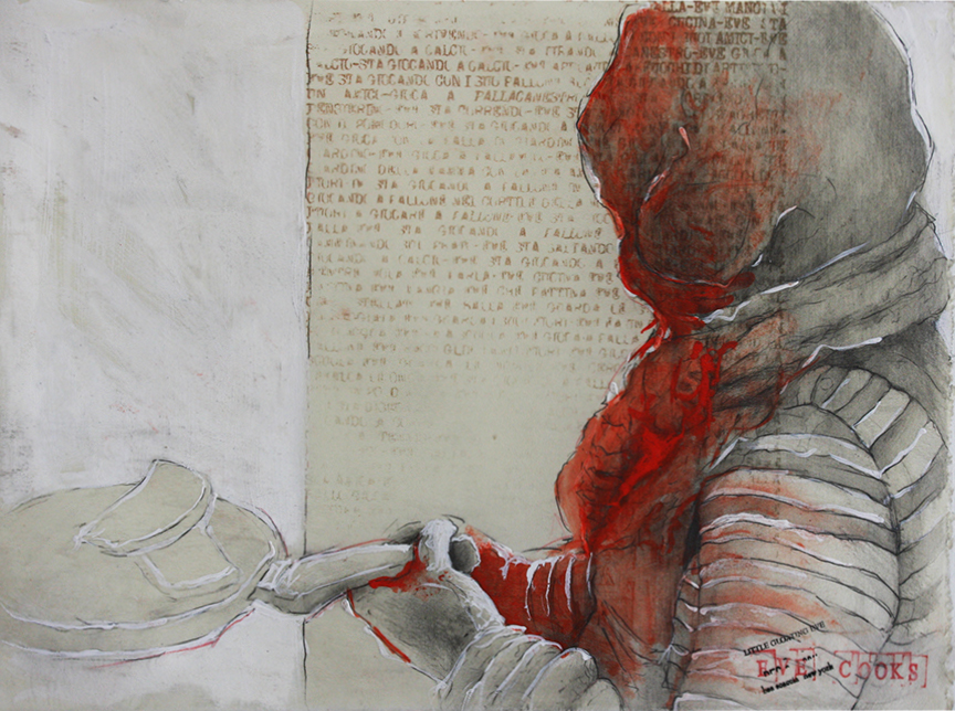 Eve cooks 2014, pencils, gesso and wax on paper cm 28x38  (Private collection)