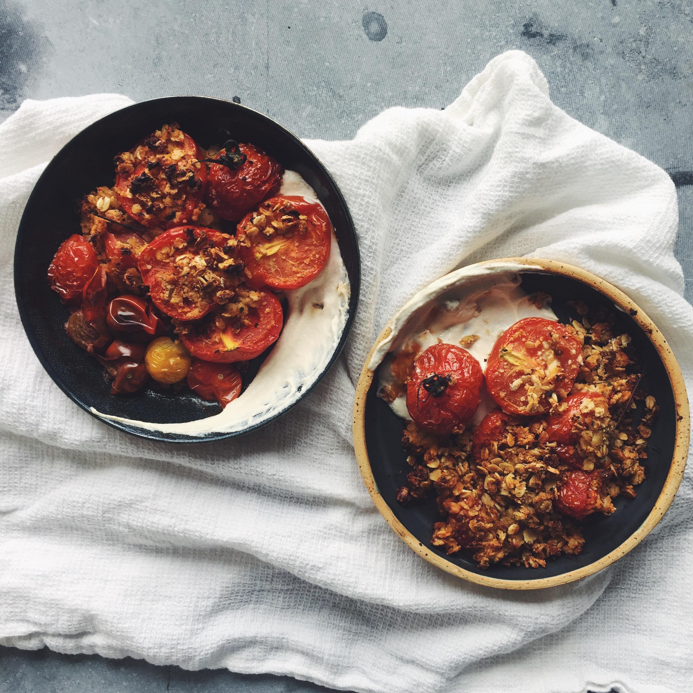 tomato crumble cheez  cashew creme sauce - lppcookbook