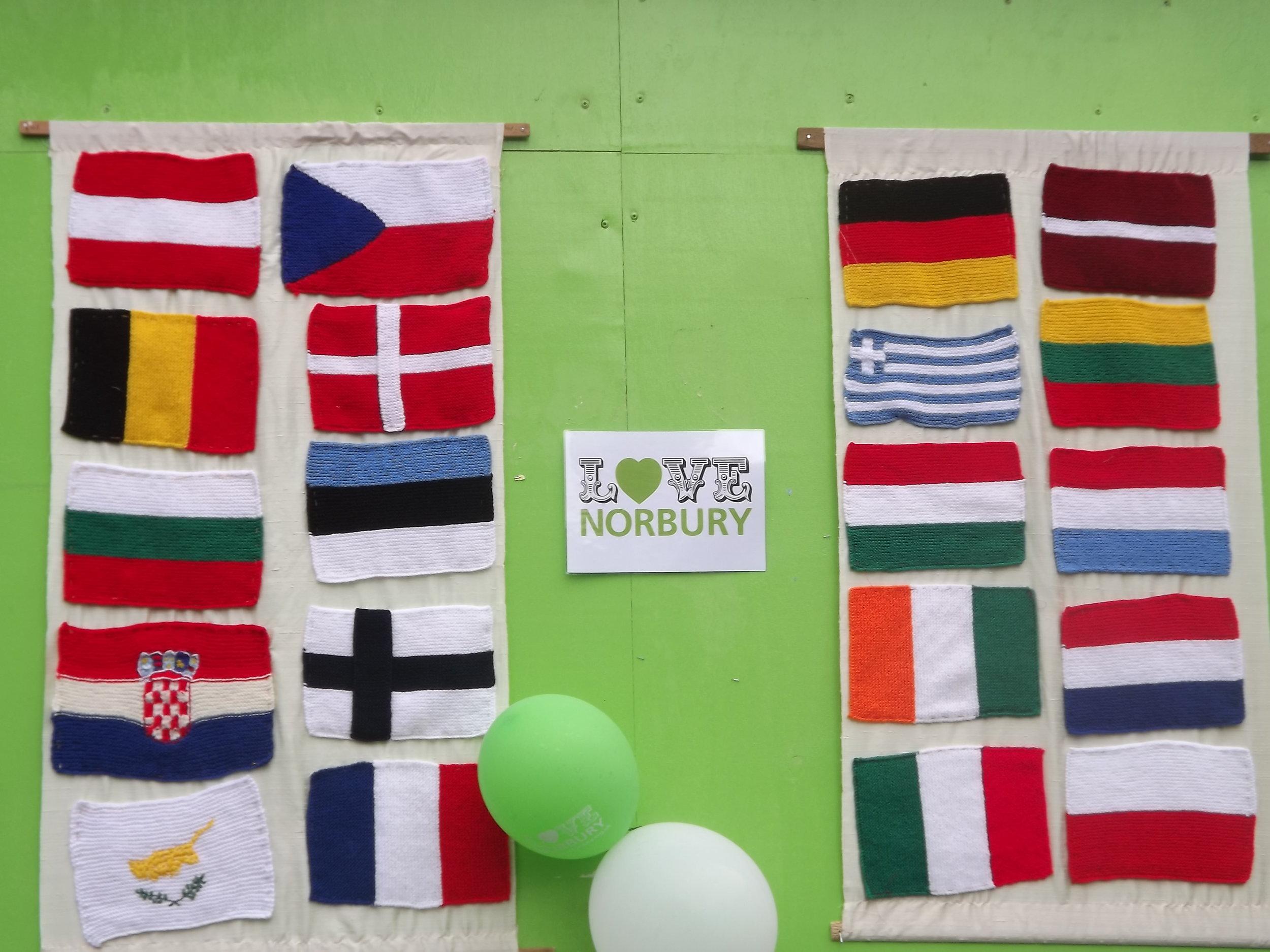 Knitting display at Love Norbury (3).JPG