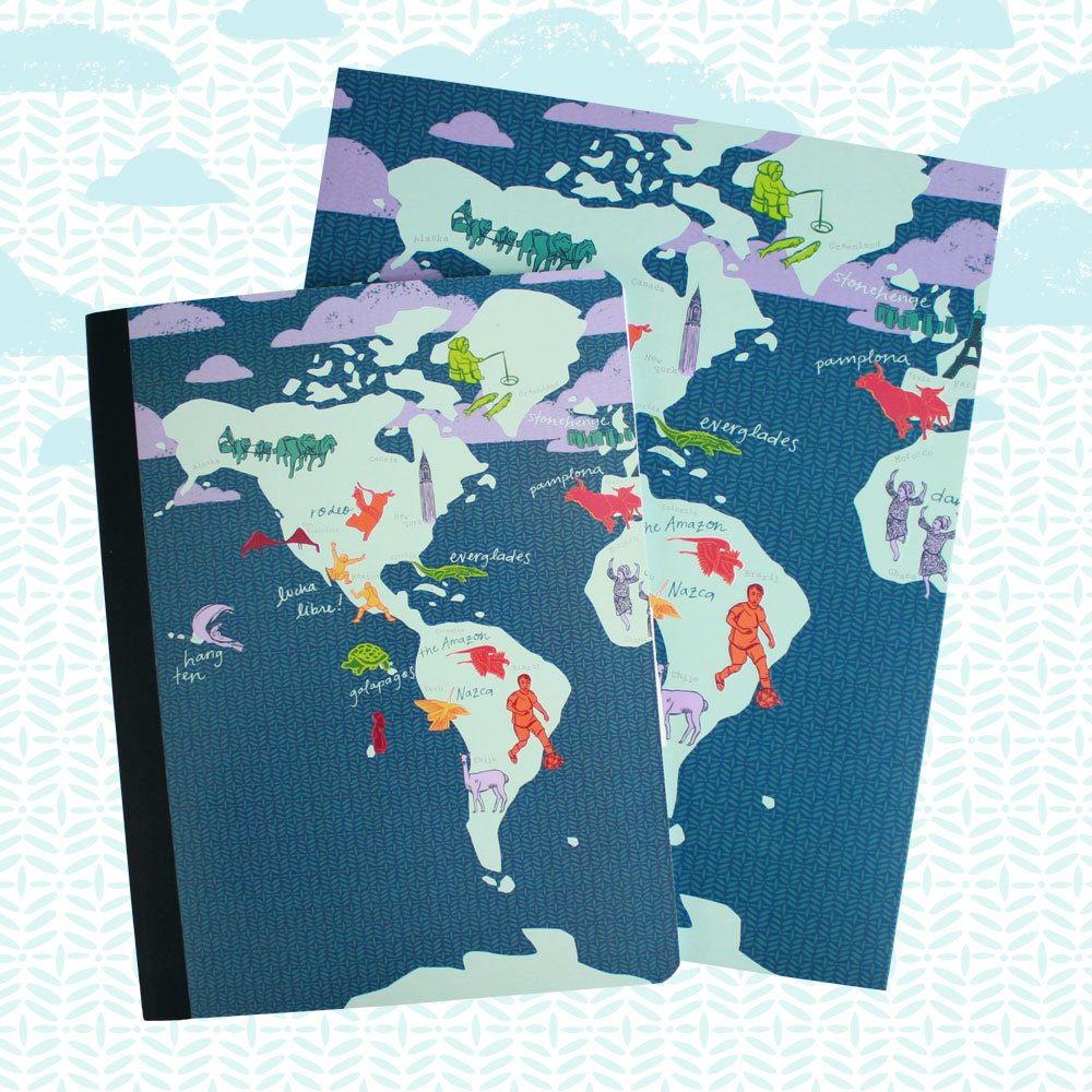 World Map Folders and Notebooks (Staples)