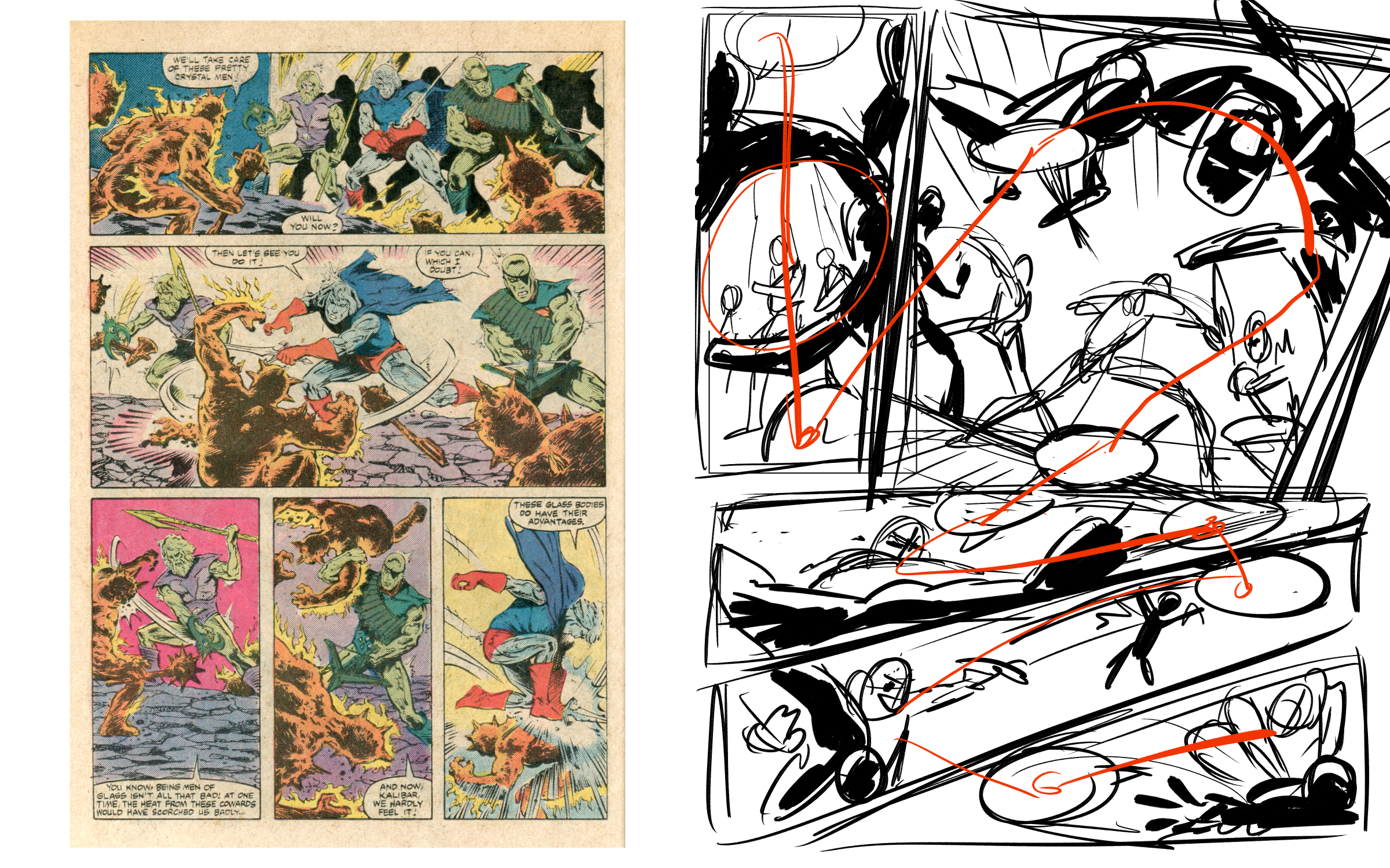 The page Jerzy used for th e exercise in this episode, and the resulting page reimagining.