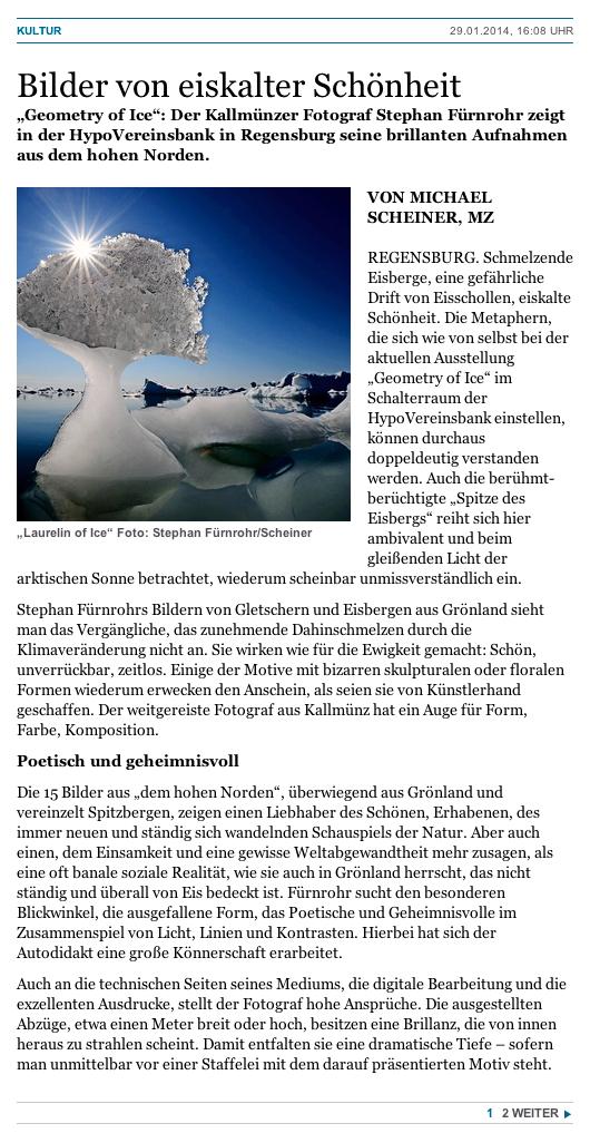 Mittelbayerische Zeitung (print & online), 29.01.2014