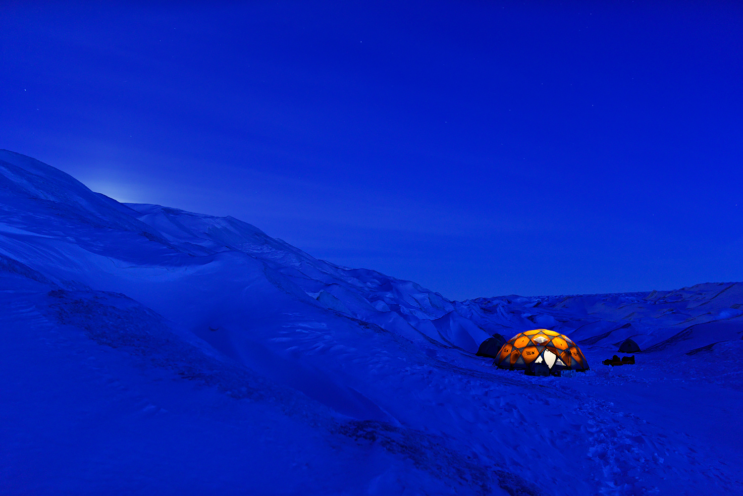 Lonely Tent In Blue Hour