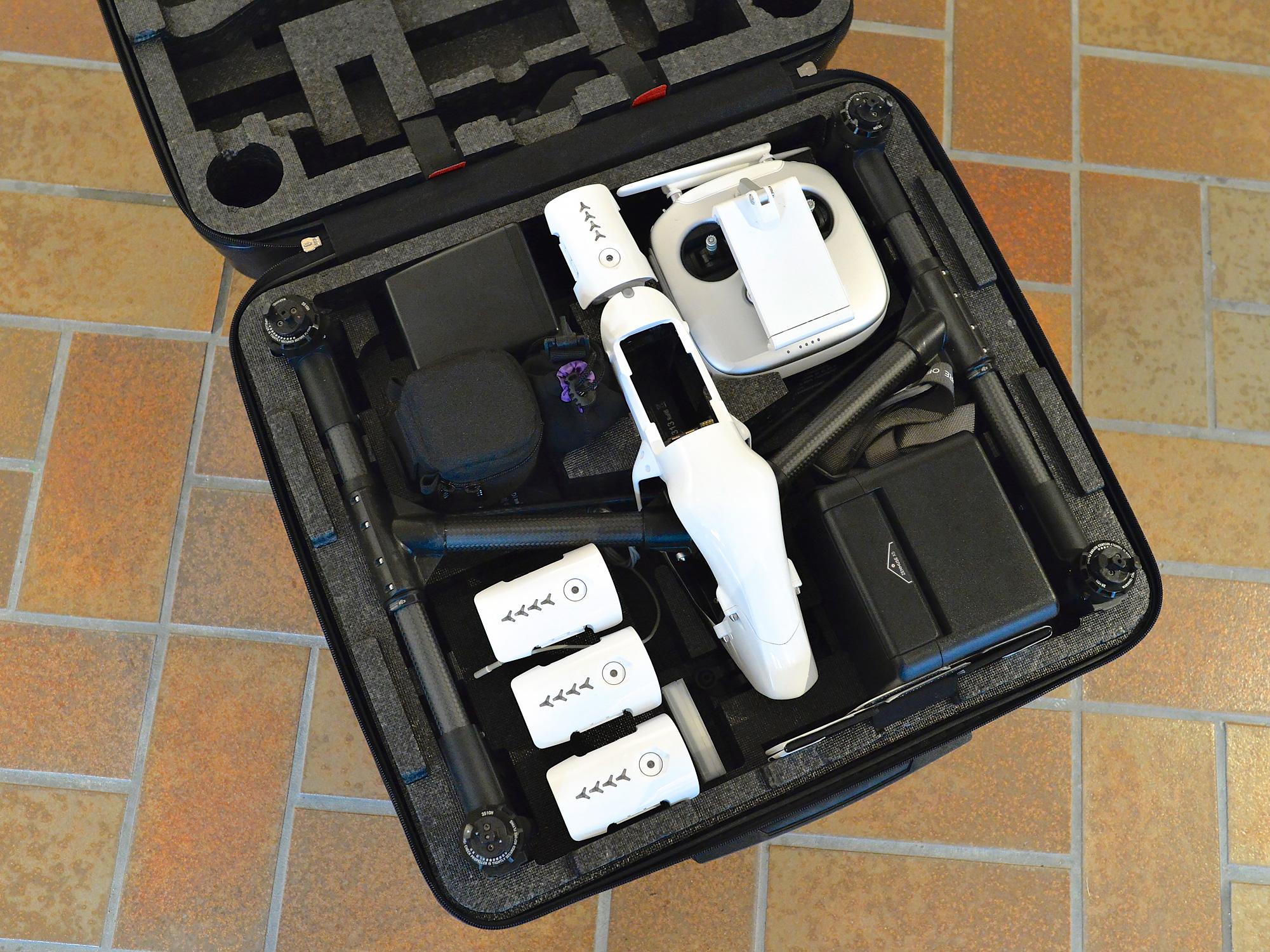 Die Ausrüstung optimal aufgeräumt im DJI Koffer