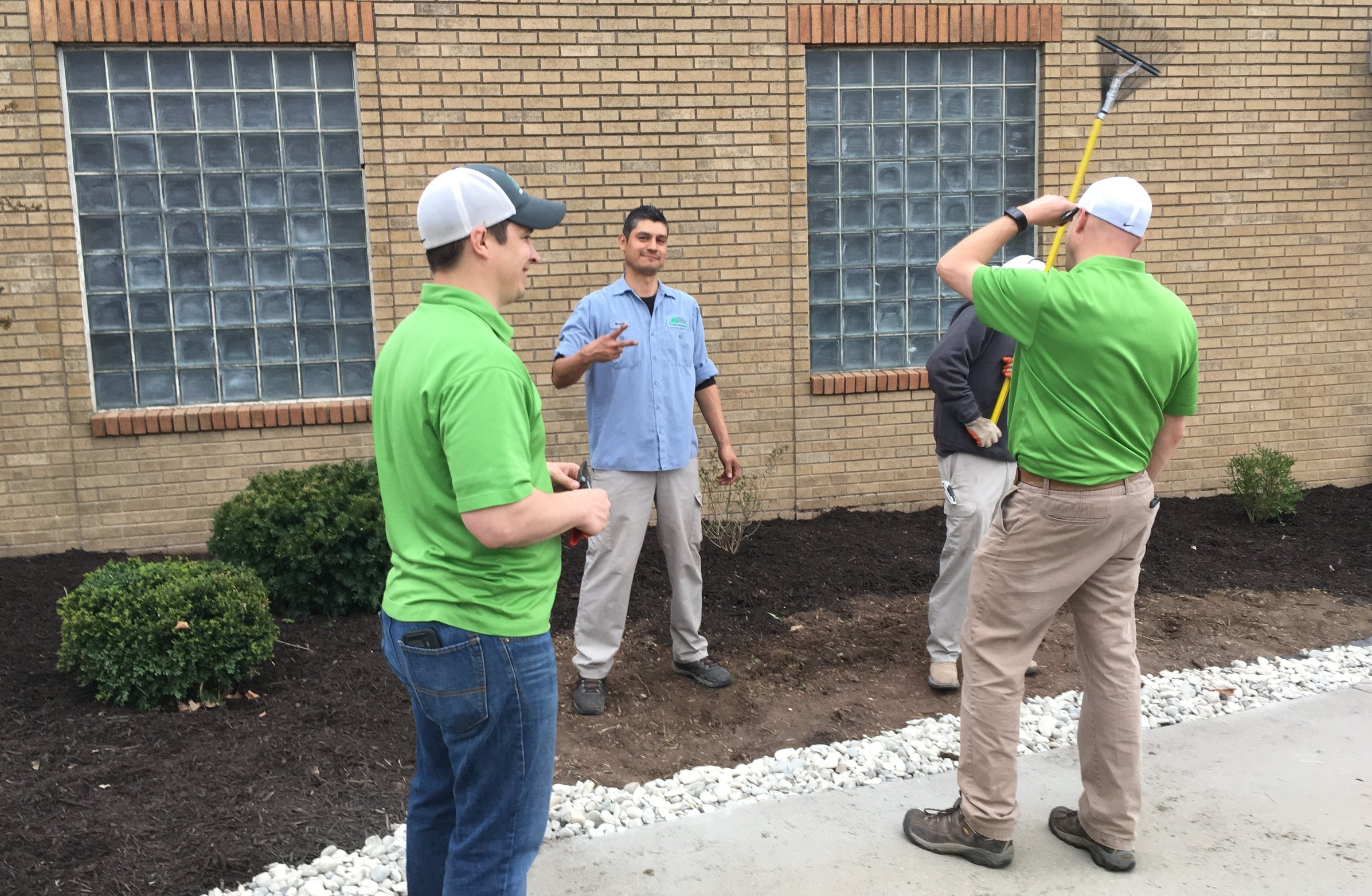 Ricardo with his co-workers from Lawn and Landscape Solutions