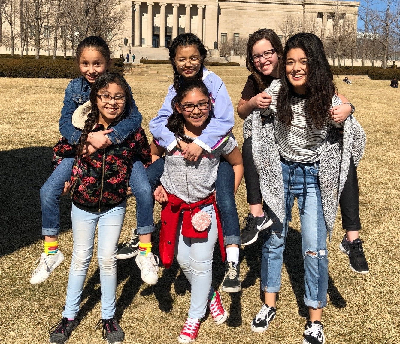 Dana Samaniego with some of the LIT girls