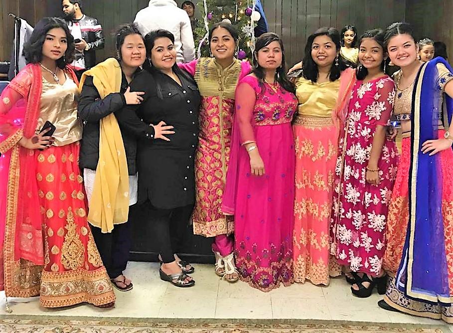 Phul Maya (center) with the Nepali folkloric dance group.
