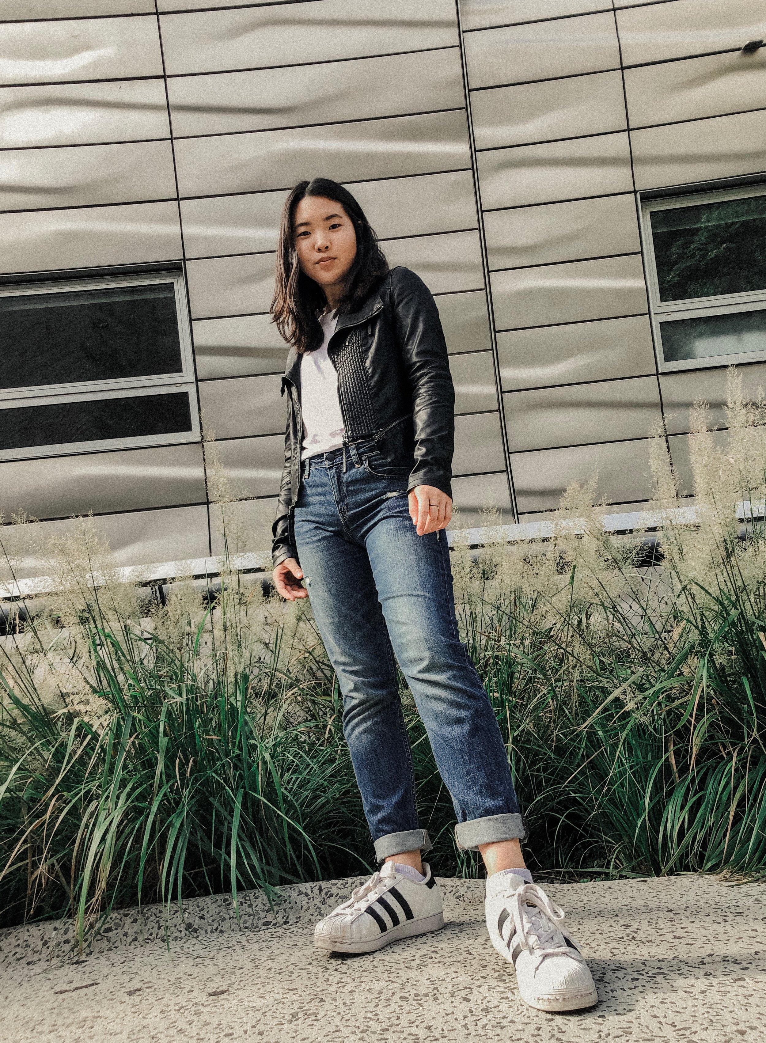 Jacket: Lulu's  Top: J.Crew  Bottom: Zara  Shoes: Adidas