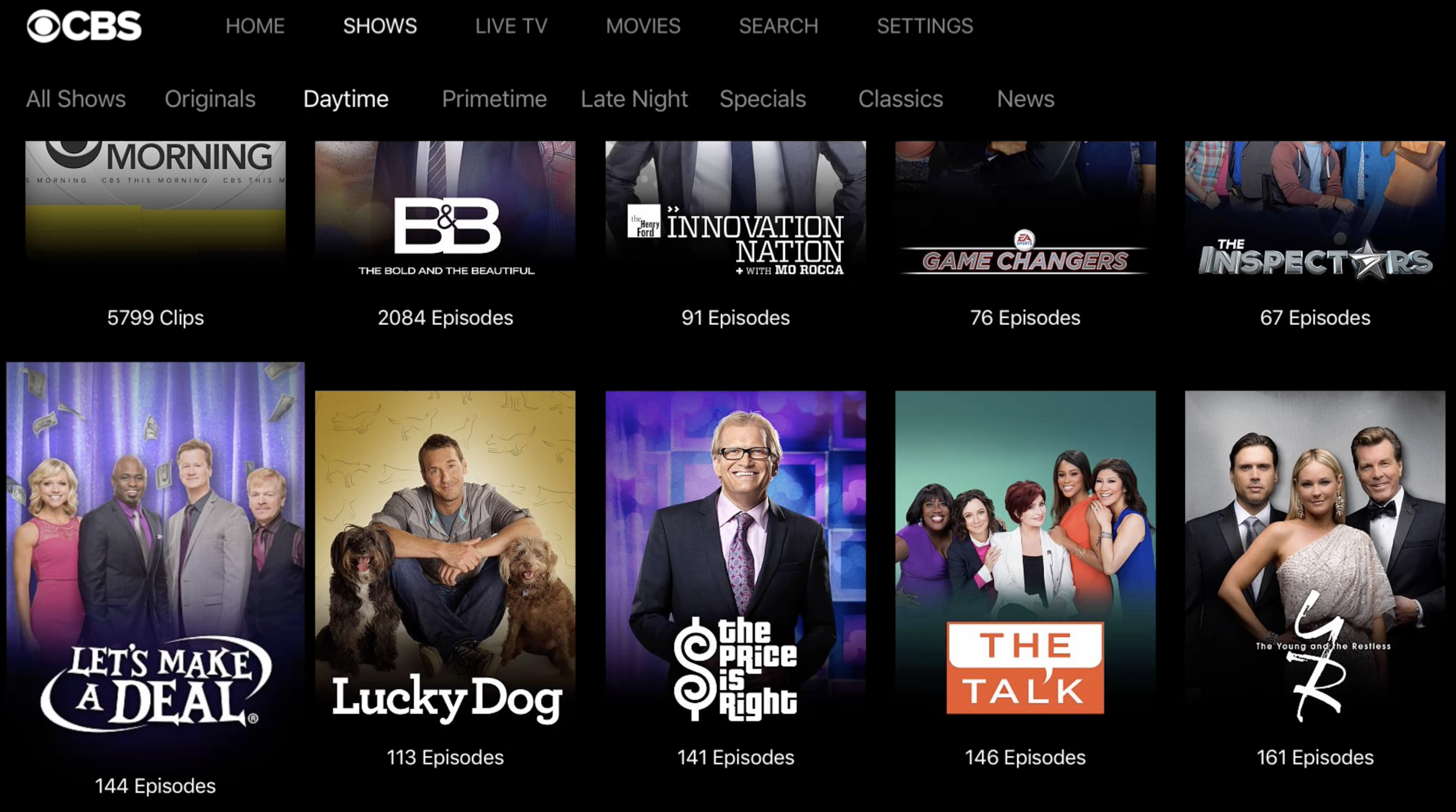 CBS All Access US Daytime Catalogue