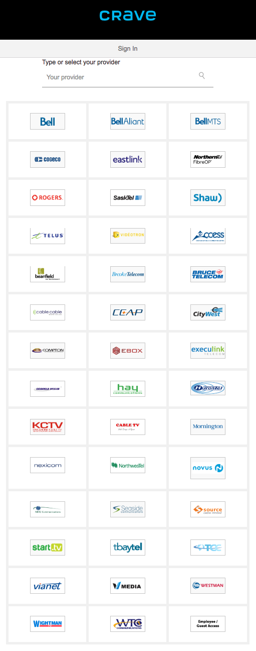 A list of the cable providers that Crave now supports.