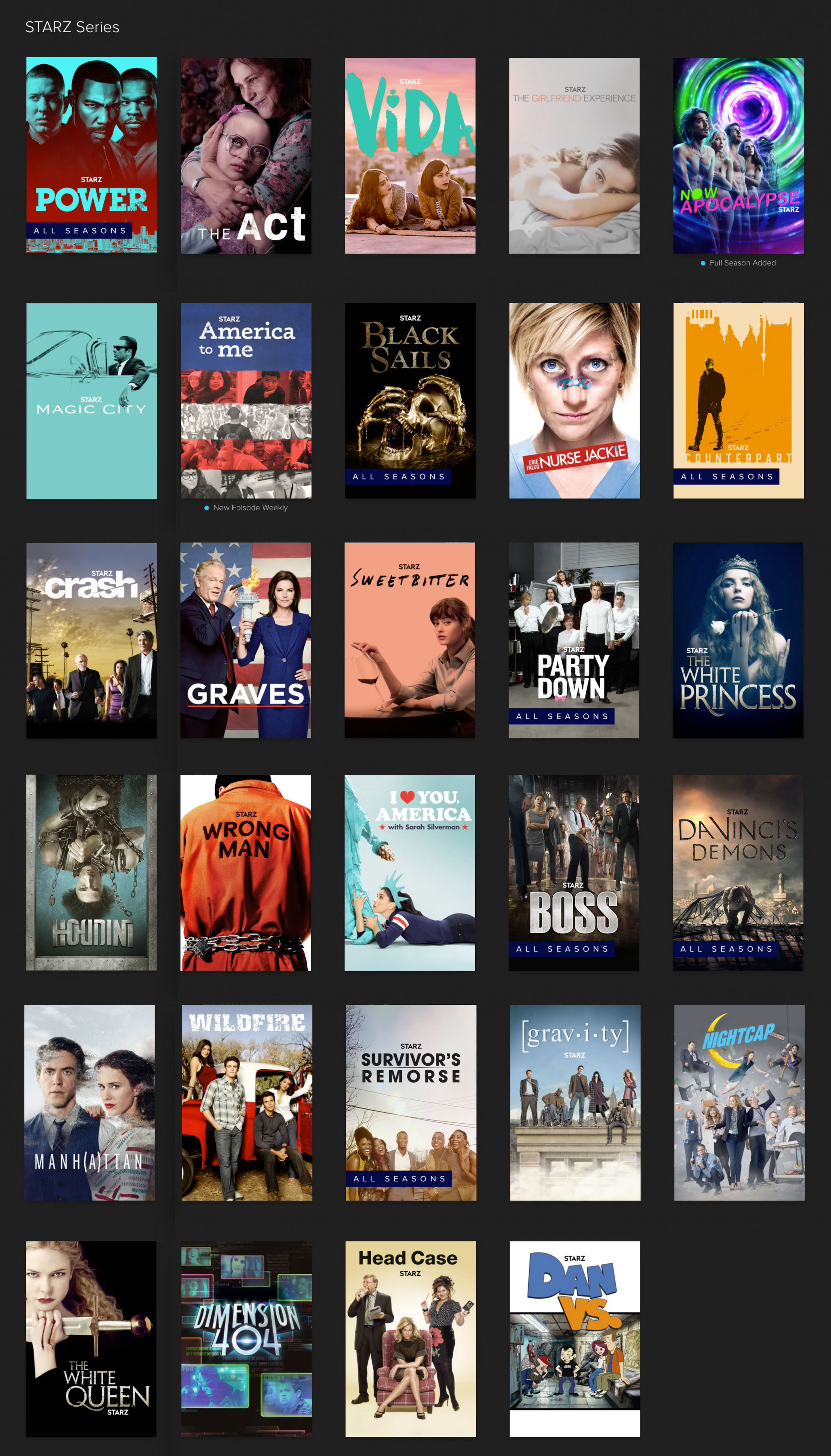 The available Starz shows on Crave for an additional $5.99