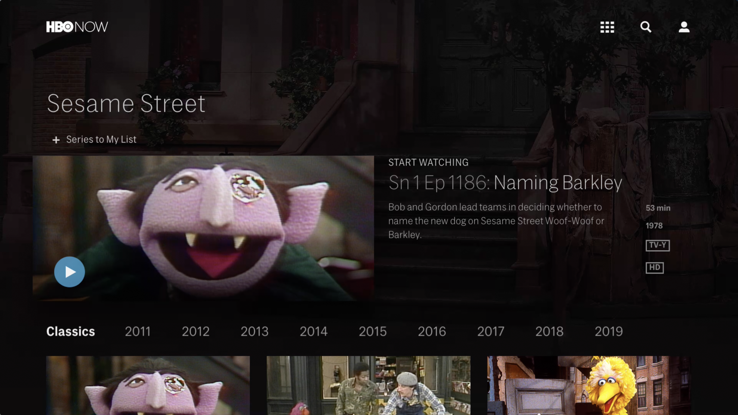 A sample of Sesame Street content on HBO Now (US) streaming service