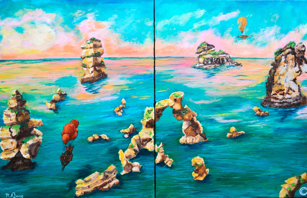 Airships at Breaking Dawn (Diptych). 2016. acrylic on canvas. 24 x 36 in.