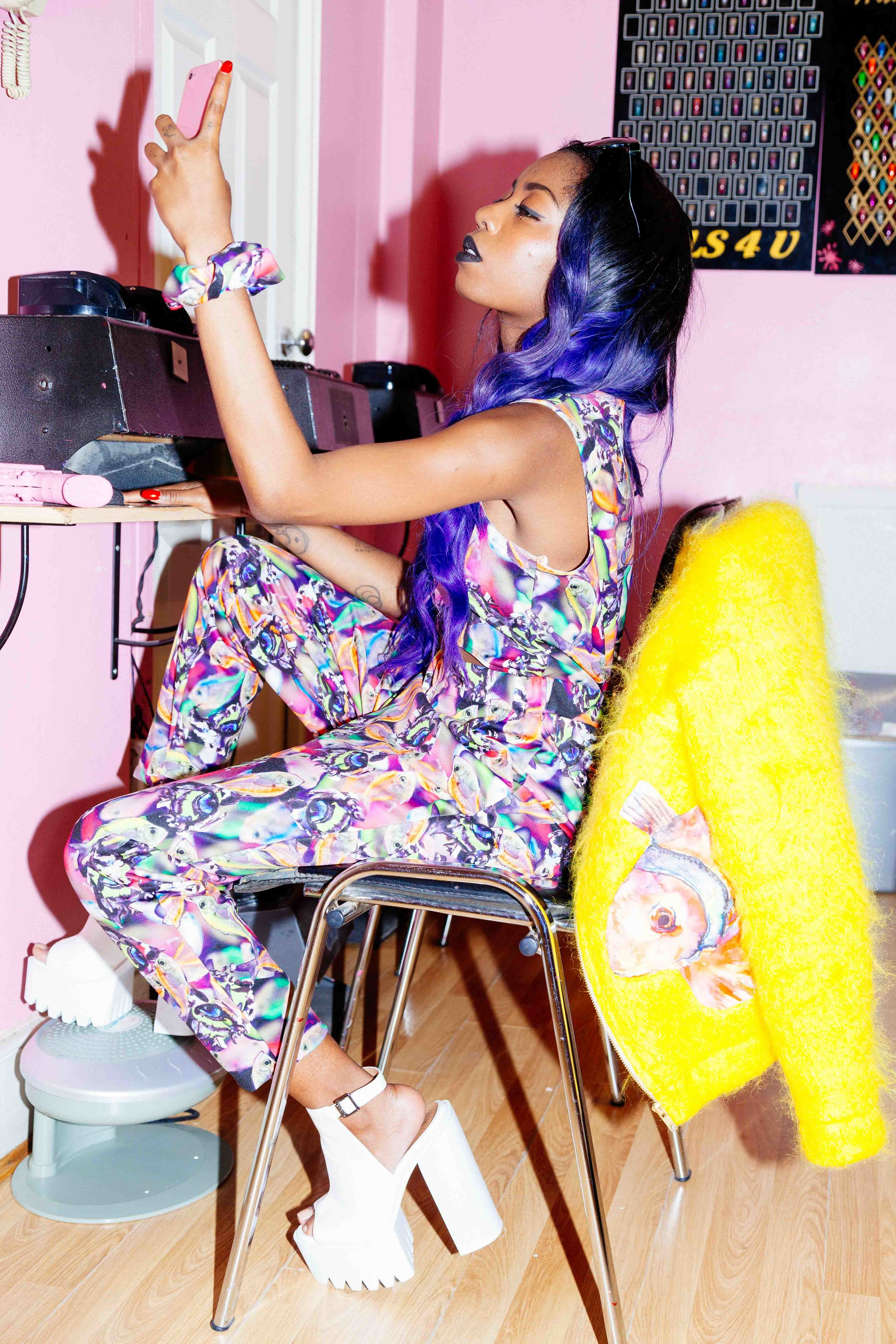 'Blue Princess Selfie'   Siobhan Bell featured in ourKatz Eyez Jumpsuit- Nails & Spa Dalston