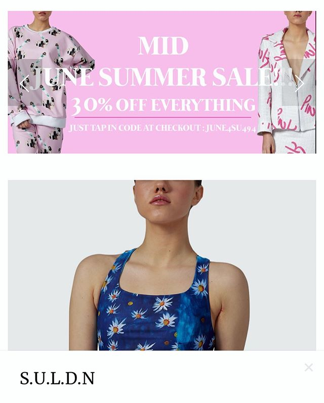 We have an epic Mid Summer Sale 🌹 Online WWW.SULDN.COM 30% off errrythingggg - put code in at check out : JUNE4SU494 and get your hands on some of our unique get ups for this summer ;) X