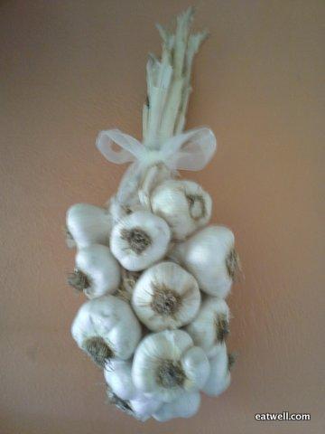 Sandy's garlic braid, hand braided at Eatwell's Summer Solstice Sleepover.