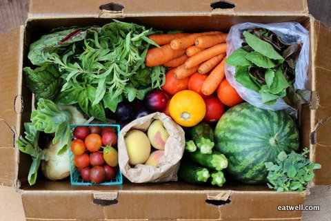 An Eatwell Farm CSA Farm Box is packed with nutrient dense, sustainably grown organic produce.  Photo by Kia from WithLovely.com.