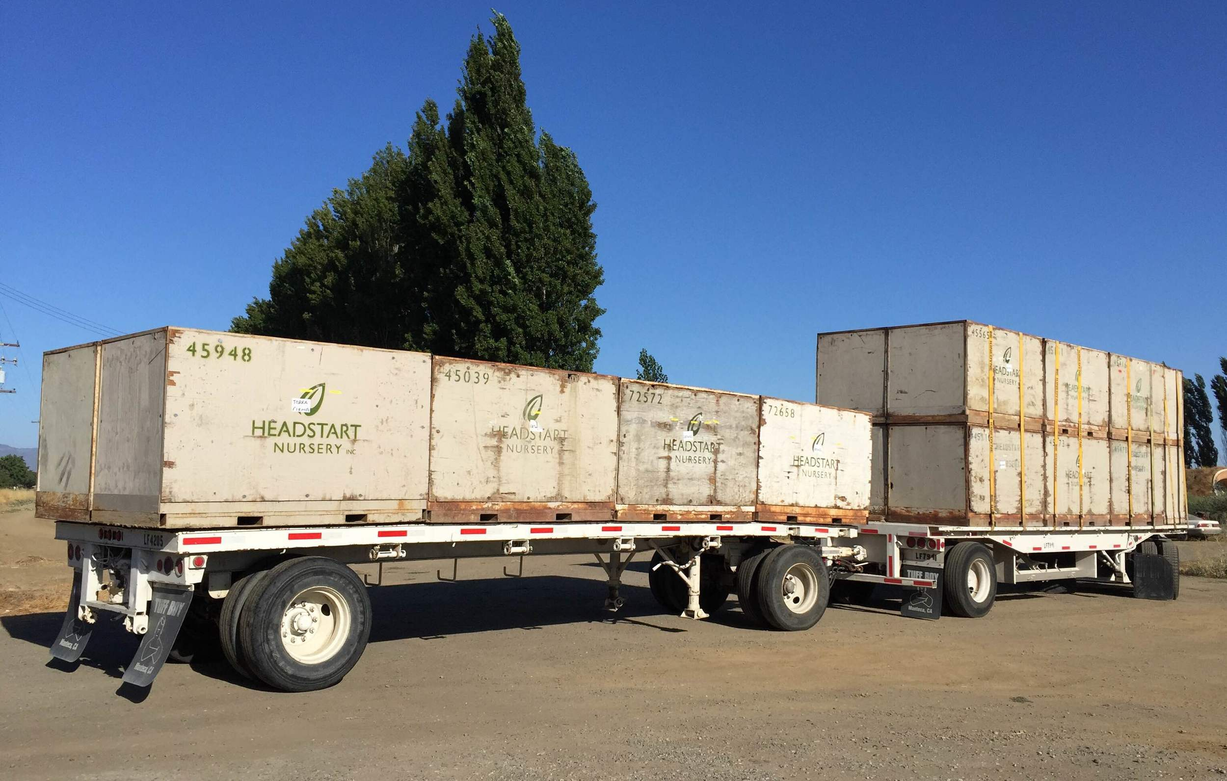 The Headstart delivery truck pulls into the farm early Monday morning so deliver transplants.