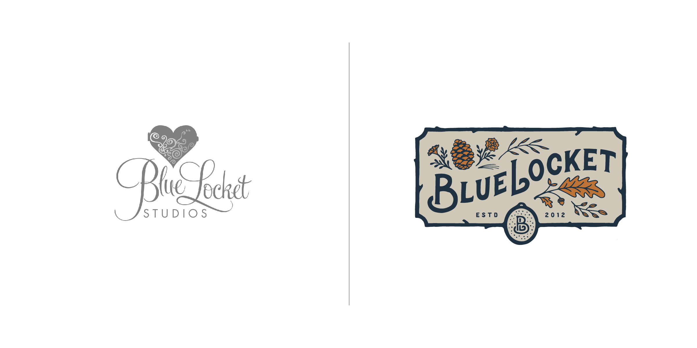 The client — Blue Locket is a talented wedding and lifestyle photography business in New England.  The goal — In a sea of logo monotony, Blue Locket needed to stand apart in the industry. We hand crafted a truly original design that authentically articulates the warmth, comfort, personable, professional and rustic nature they are known for to best attract their ideal clientele.