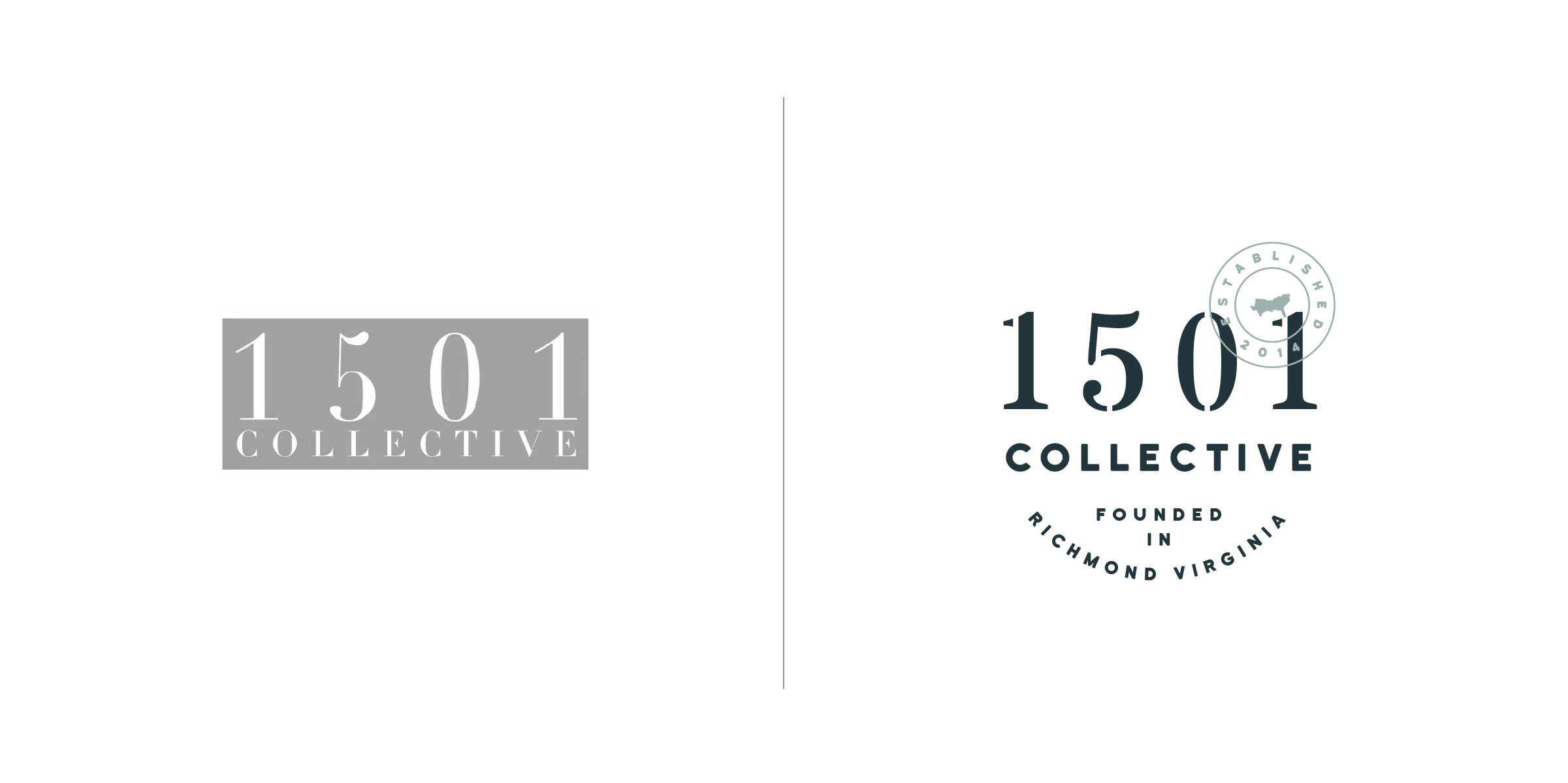 The client —   1501 Collective is a family run craft beverage business in Richmond, Virginia.  The goal — The 1501 Collective logo needed to pay tribute to their beverage making heritage while firmly setting foot in the present. We worked on pairing a stencil style font historically used by coopers (barrel makers back in the day) and perfectly matched it was a modern san serif font to update the design. We thrive on projects like this that strike the perfect balance between classic design qualities of the past in a flexible logo identity system that works in the present.