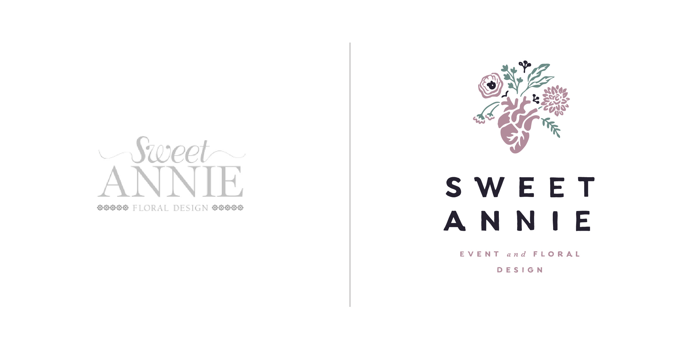 The client — Sweet Annie Floral is a boutique floral design studio, specializing in weddings and events from coast to coast.  The goal — To embrace a bolder, more unique logo that best expressed Sweet Annie's wholehearted passion for blooms. Because event and floral design is in their blood we hand illustrated the perfect visual representation that would turn heads and inspire hearts. The typography is daring while friendly and sophisticated with a classic twist. The whole look hits a fun & spirited cord with an obsessive attention to detail without constraint.