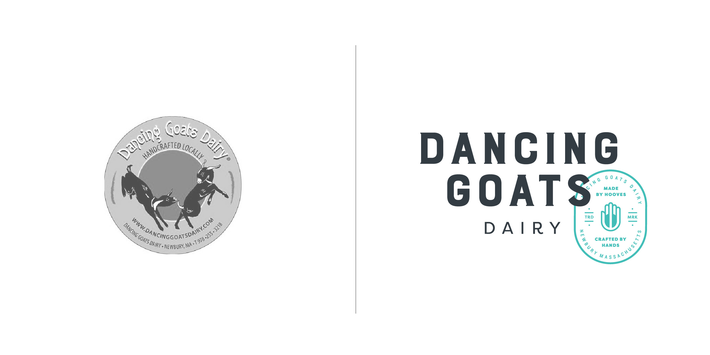 The client —   Dancing Goats Dairy is a goat dairy on the North Shore of Massachusetts run by a young, sassy female goat whisperer and exceptionally talented cheese maker.  The goal — To articulate a design that features their ridiculously tasty, high quality, classic French-style product with a modern flair for fusion. The design needed to honor the old-world cheese making craft while adding a sophisticated edge. While fresh, vibrant and youthful to compliment a new age female farmer, the DGD logo is also bold enough to compete within a traditionally male-dominated field.  (View more of the project here.)