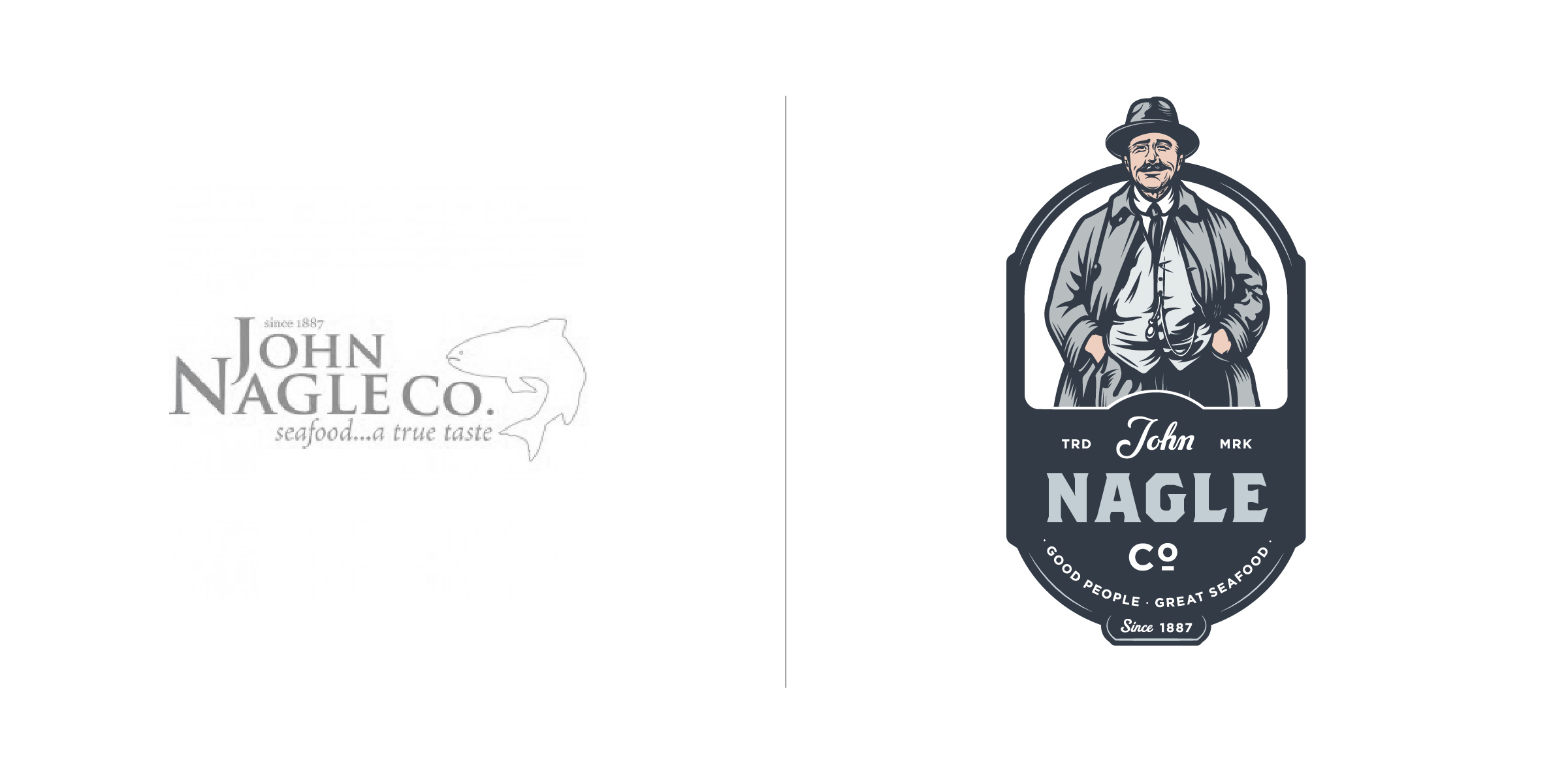 The client —   John Nagle Co. is a Boston based seafood distribution business founded in 1887  The goal — It is crucial for companies in ever changing industries to keep their logos current (and not solely rely on an impressive company history). Our goal was to show a more personable, human side of the John Nagle Co. while also authentically representing their founder and namesake. When a handshake means more than a contract on a piece of paper, this logo helps tell their story while maintaining a modern design aesthetic that speaks to their sustainable, forward thinking practices in an ever evolving industry.