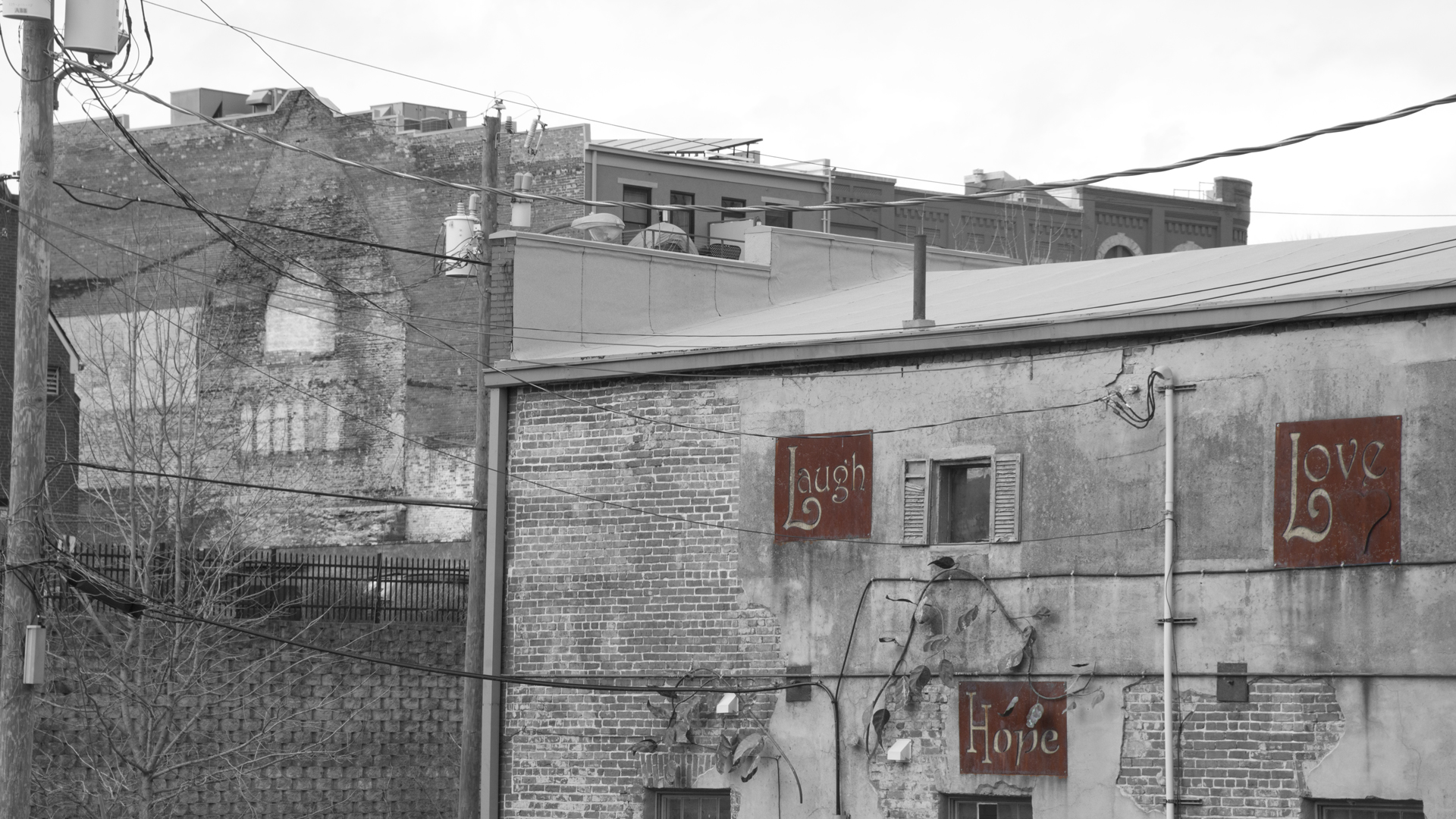 I love the ghost of the old chapel that was exposed when they demolished an old warehouse.