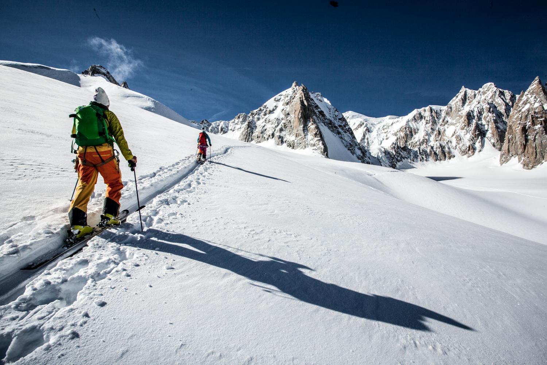 Ski touring to Aiguille des Entreves