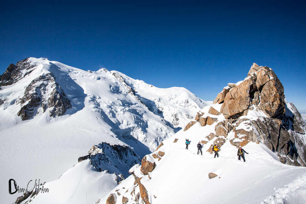 Arete du Cosmiques, Mont Blanc in the background.